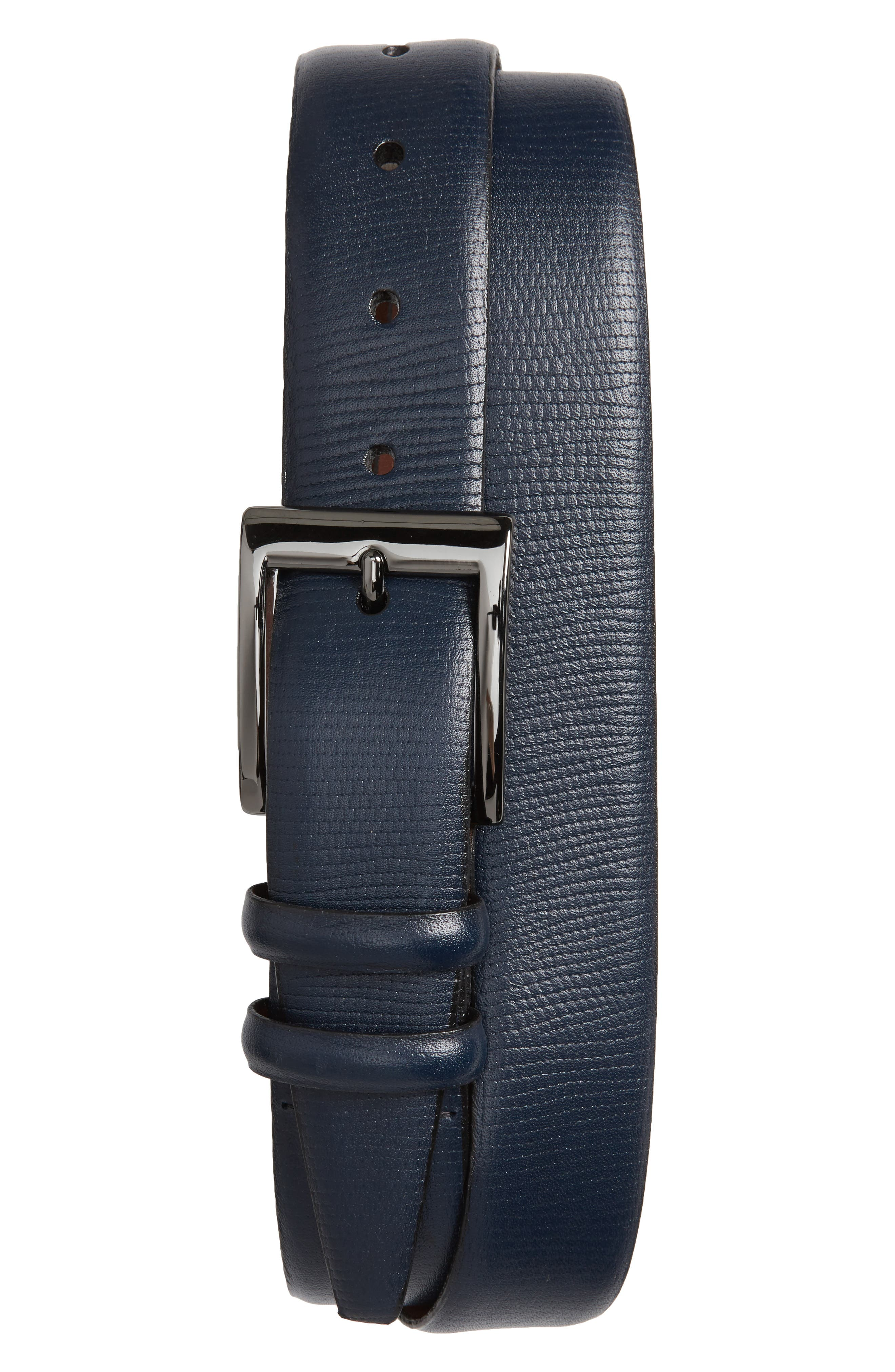 Torino Belts Lizard Embossed Leather Belt, Navy