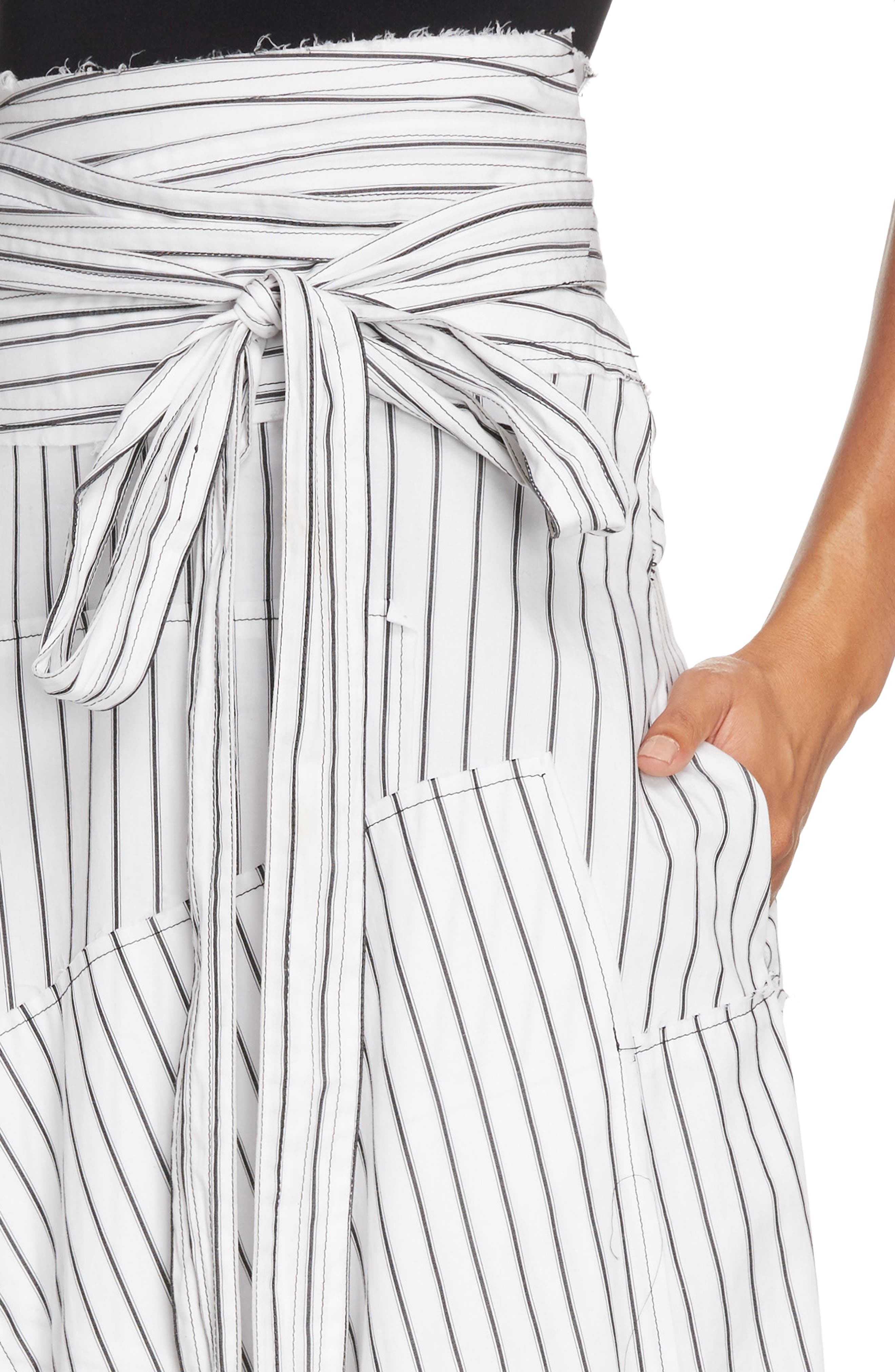 Patchwork Pinstripe Wrap Skirt,                             Alternate thumbnail 4, color,                             900