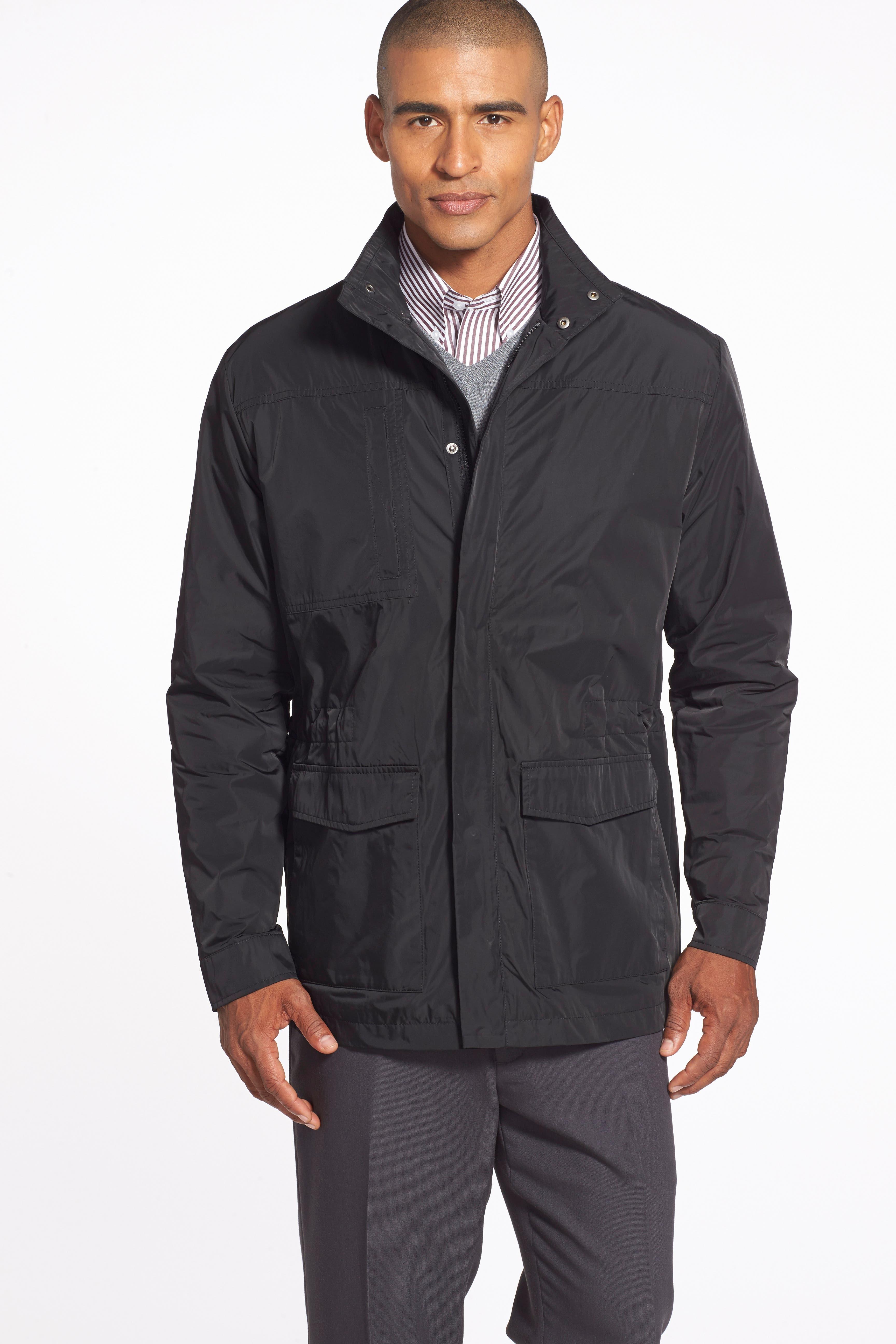 Birch Bay Water Resistant Jacket,                             Alternate thumbnail 4, color,                             BLACK
