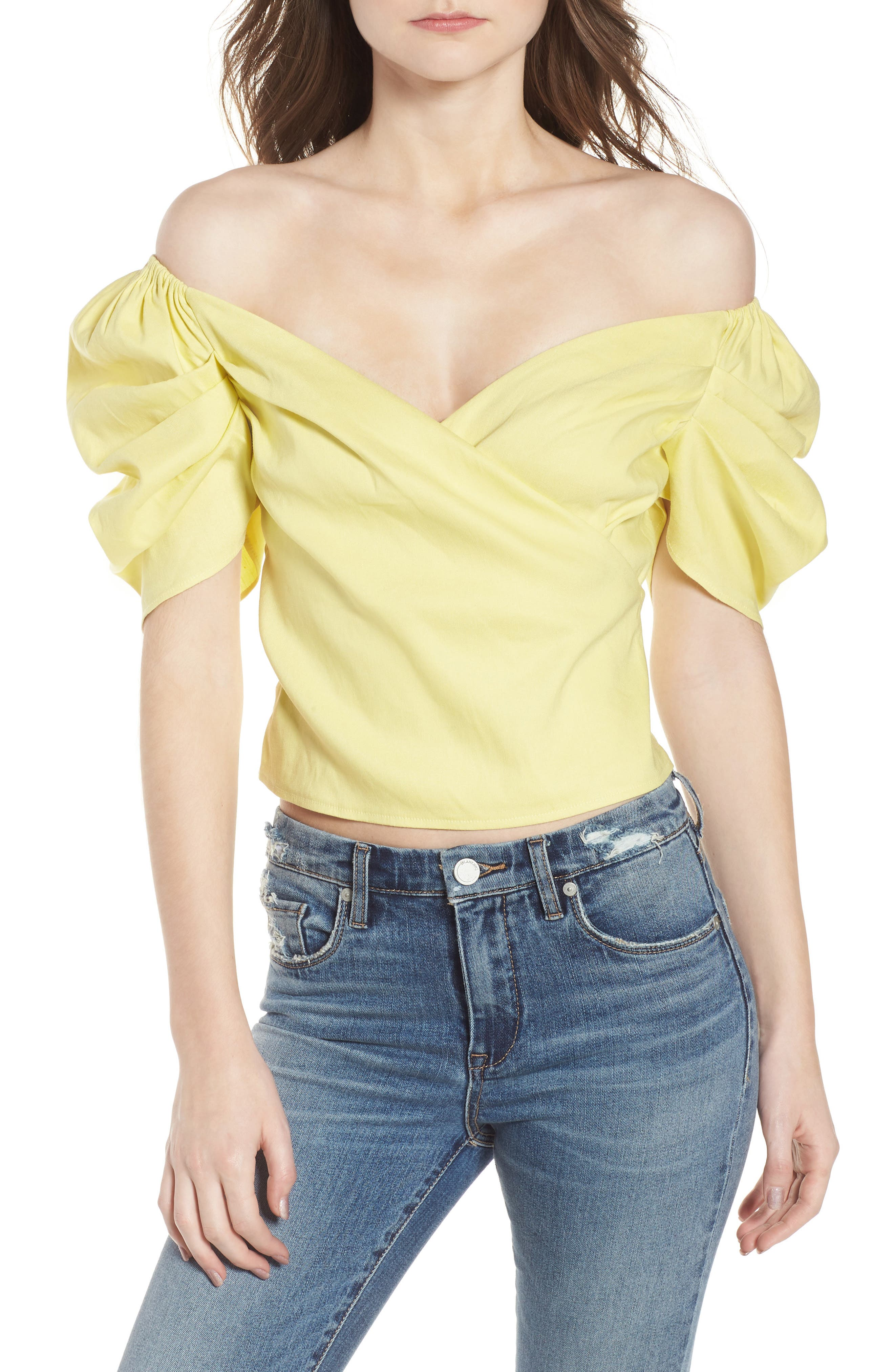 Off the Shoulder Top,                         Main,                         color, YELLOW CANARY