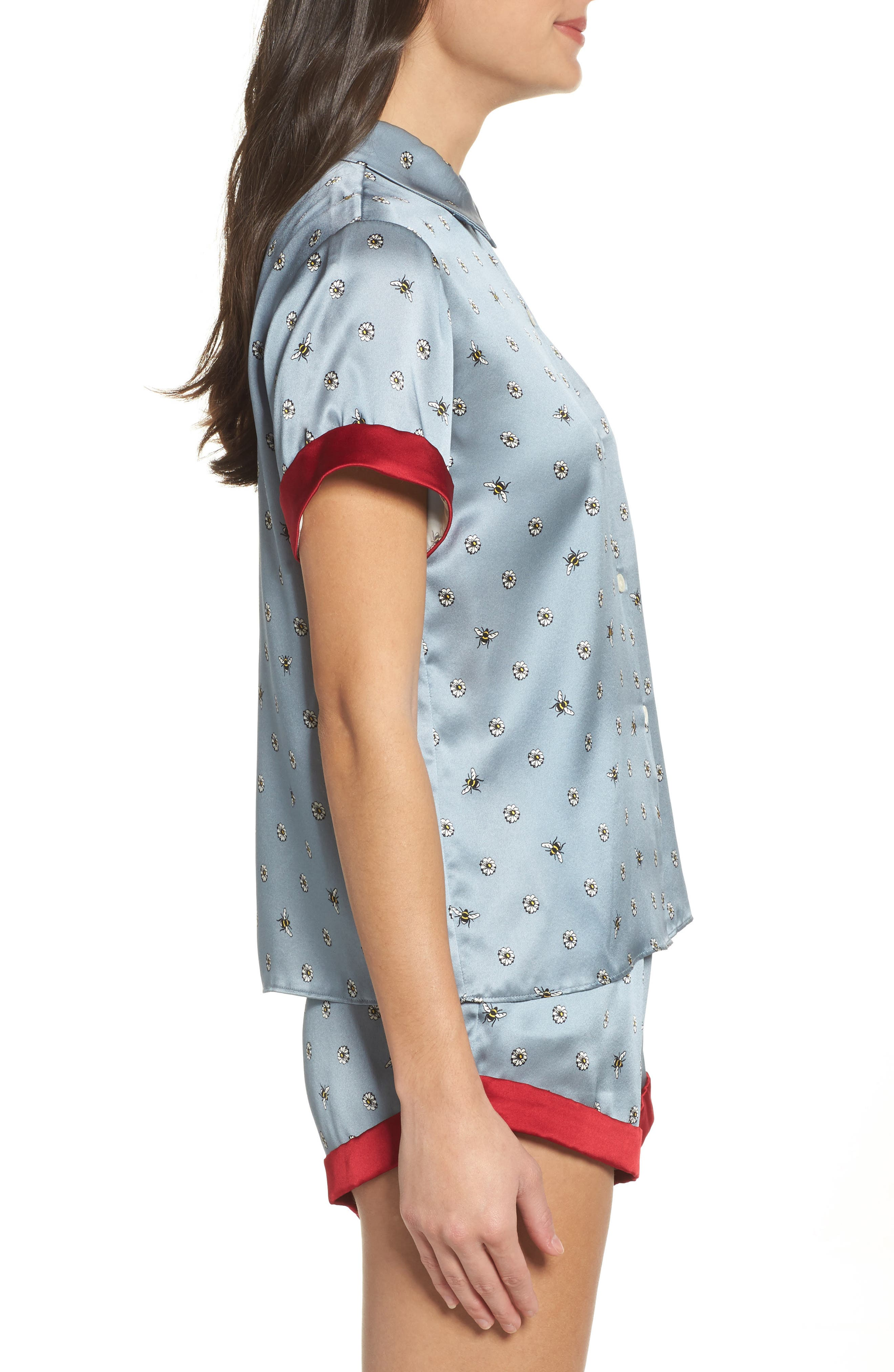 Staci Silk Pajama Top,                             Alternate thumbnail 3, color,                             490