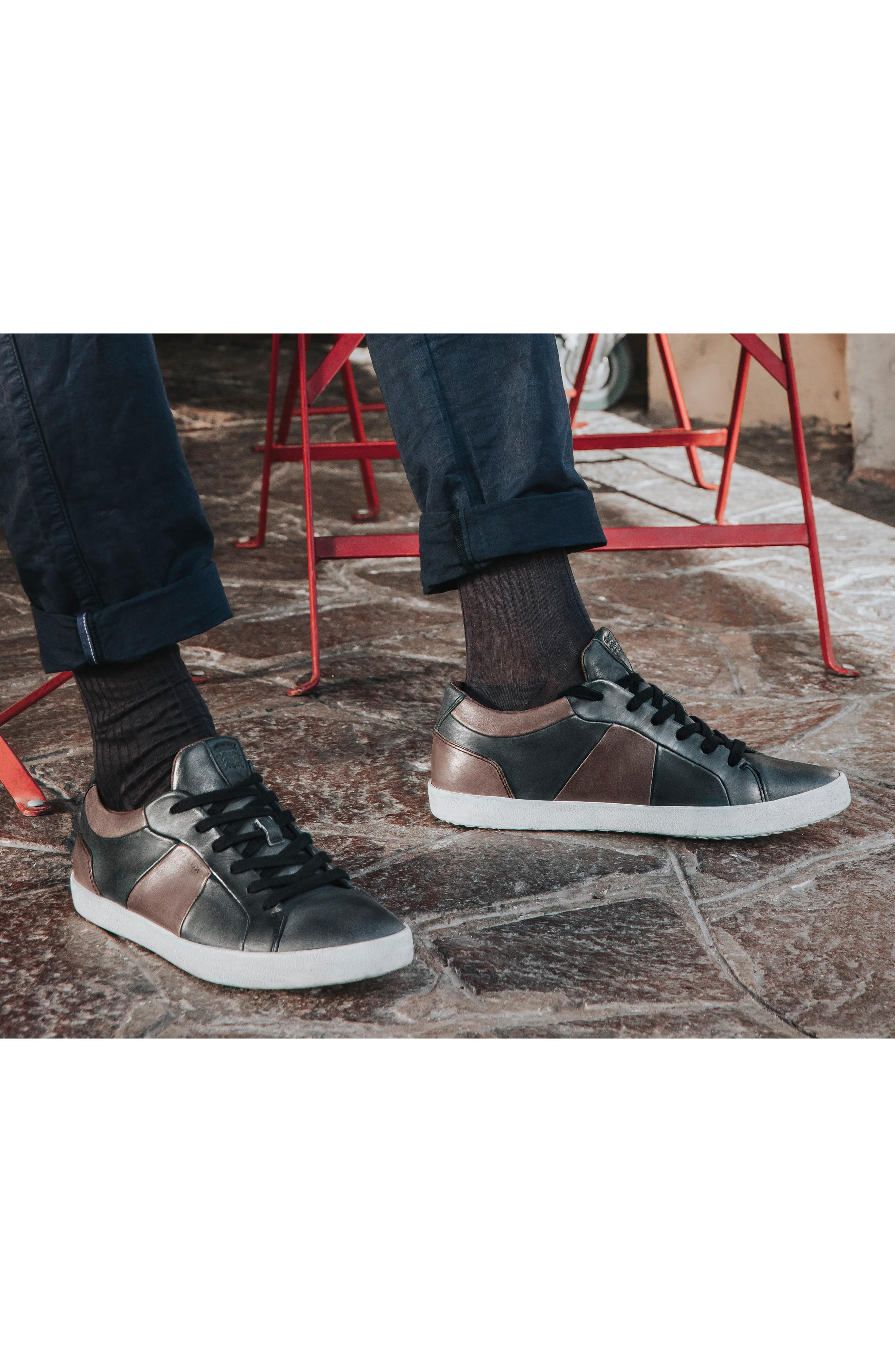 Smart 85 Low Top Sneaker,                             Alternate thumbnail 7, color,                             BLACK/ COFFEE LEATHER