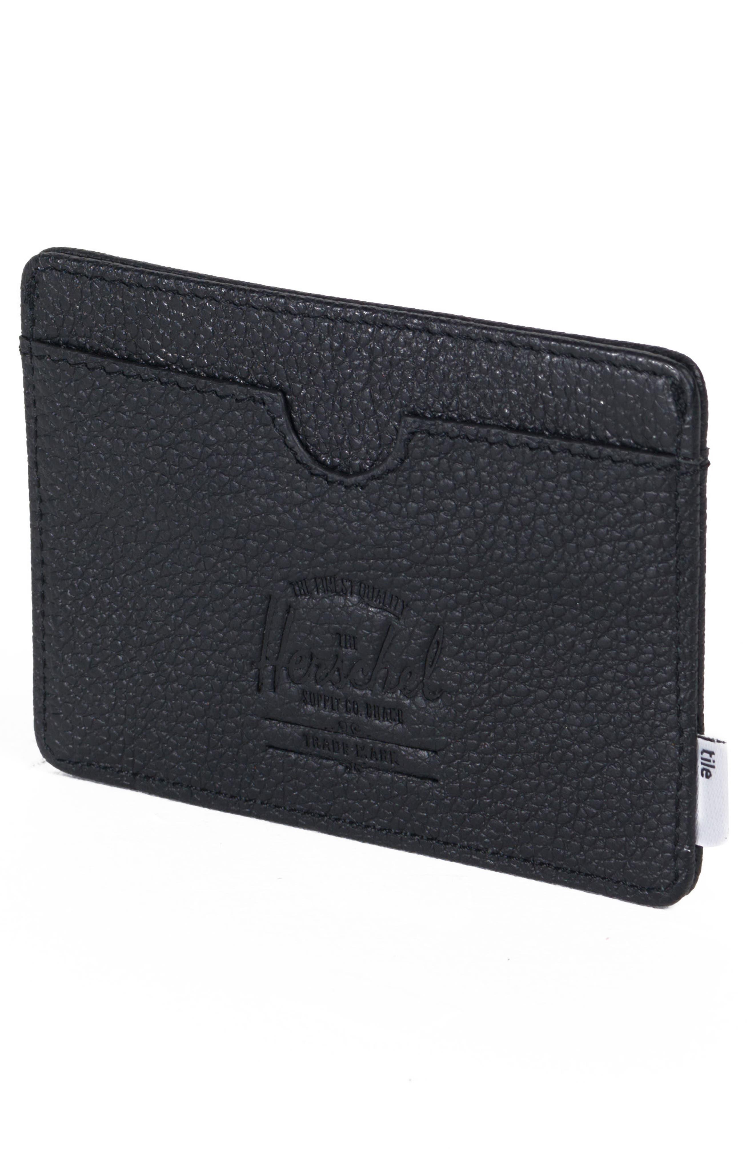 Tile Slim Charlie Leather Card Case,                             Alternate thumbnail 2, color,                             BLACK PEBBLED LEATHER