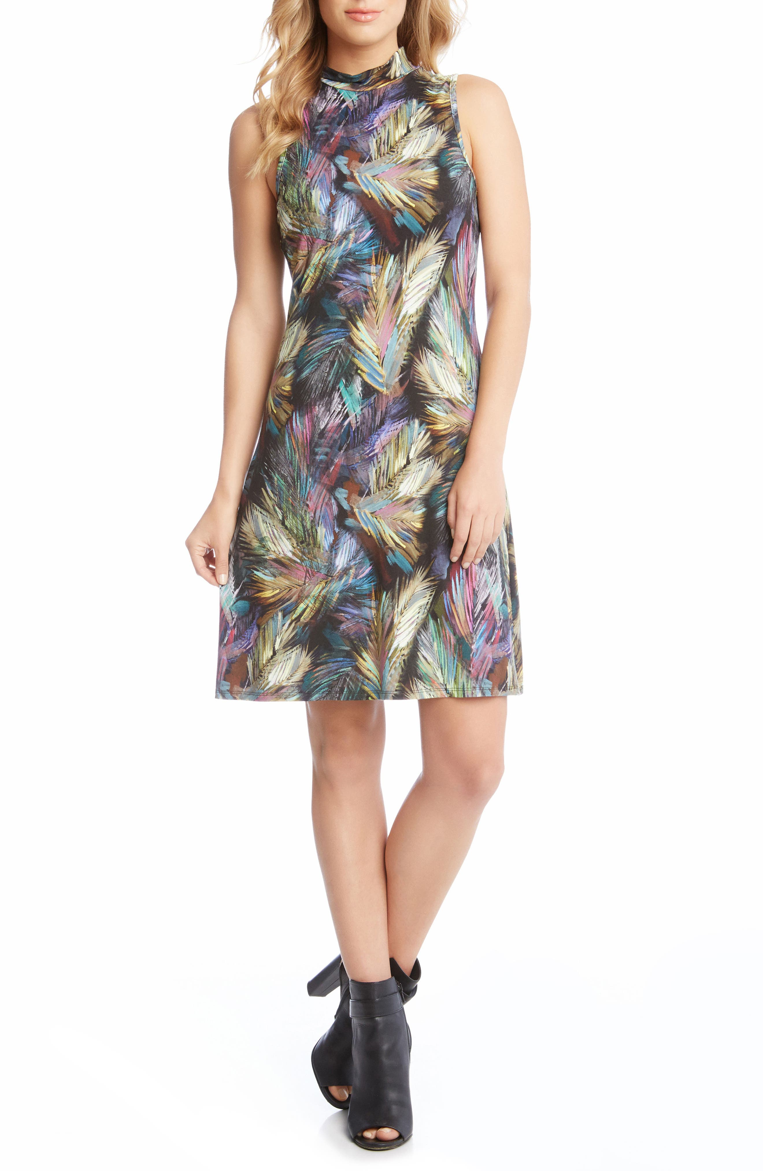 Palm Print A-Line Dress,                             Main thumbnail 1, color,                             560