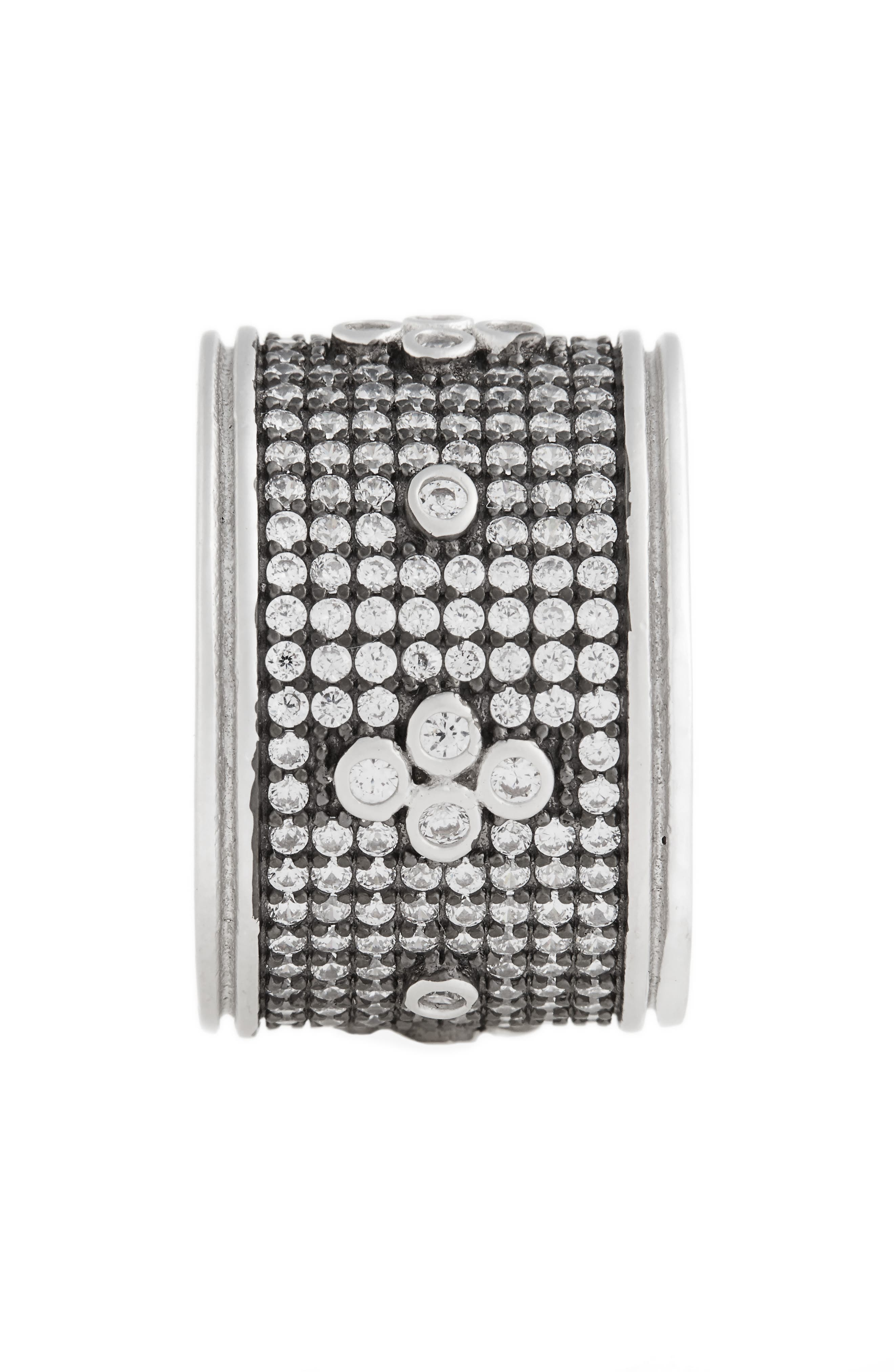 Clover Wide Band Ring,                             Alternate thumbnail 2, color,                             BLACK/ WHITE/ SILVER