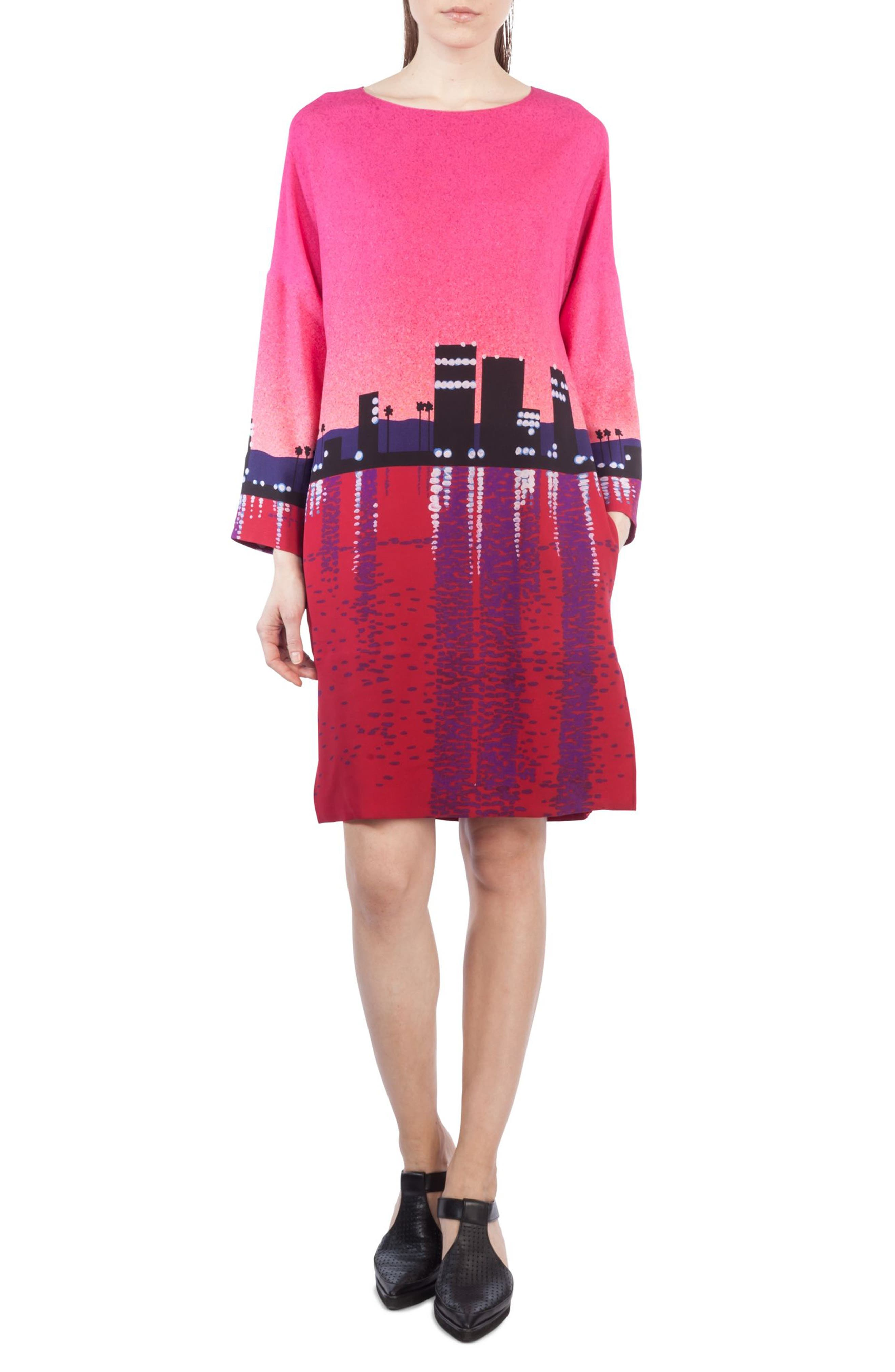 Sunset Print Shift Dress,                         Main,                         color, 650