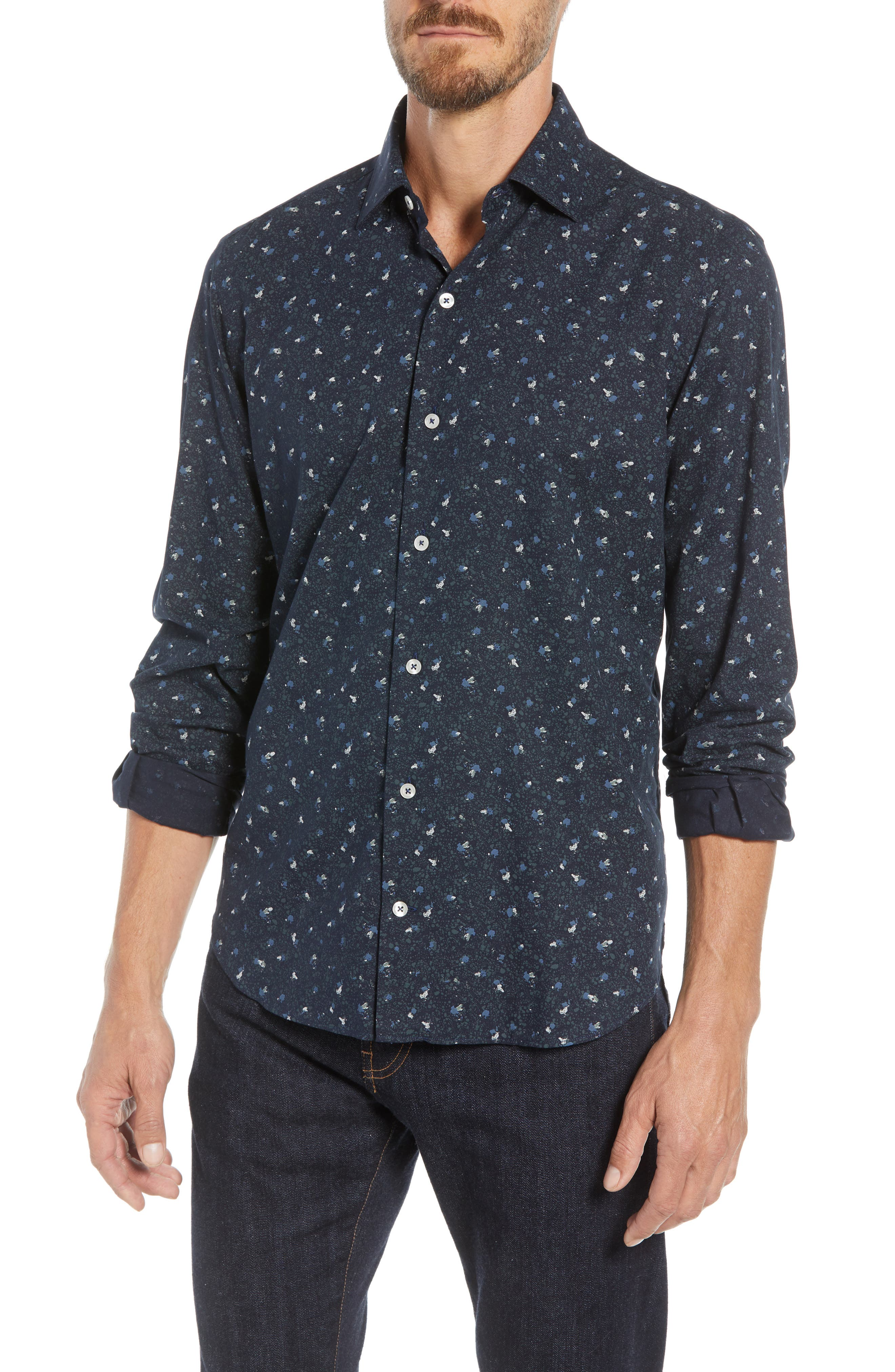 Tailored Fit Print Sport Shirt,                         Main,                         color, 400
