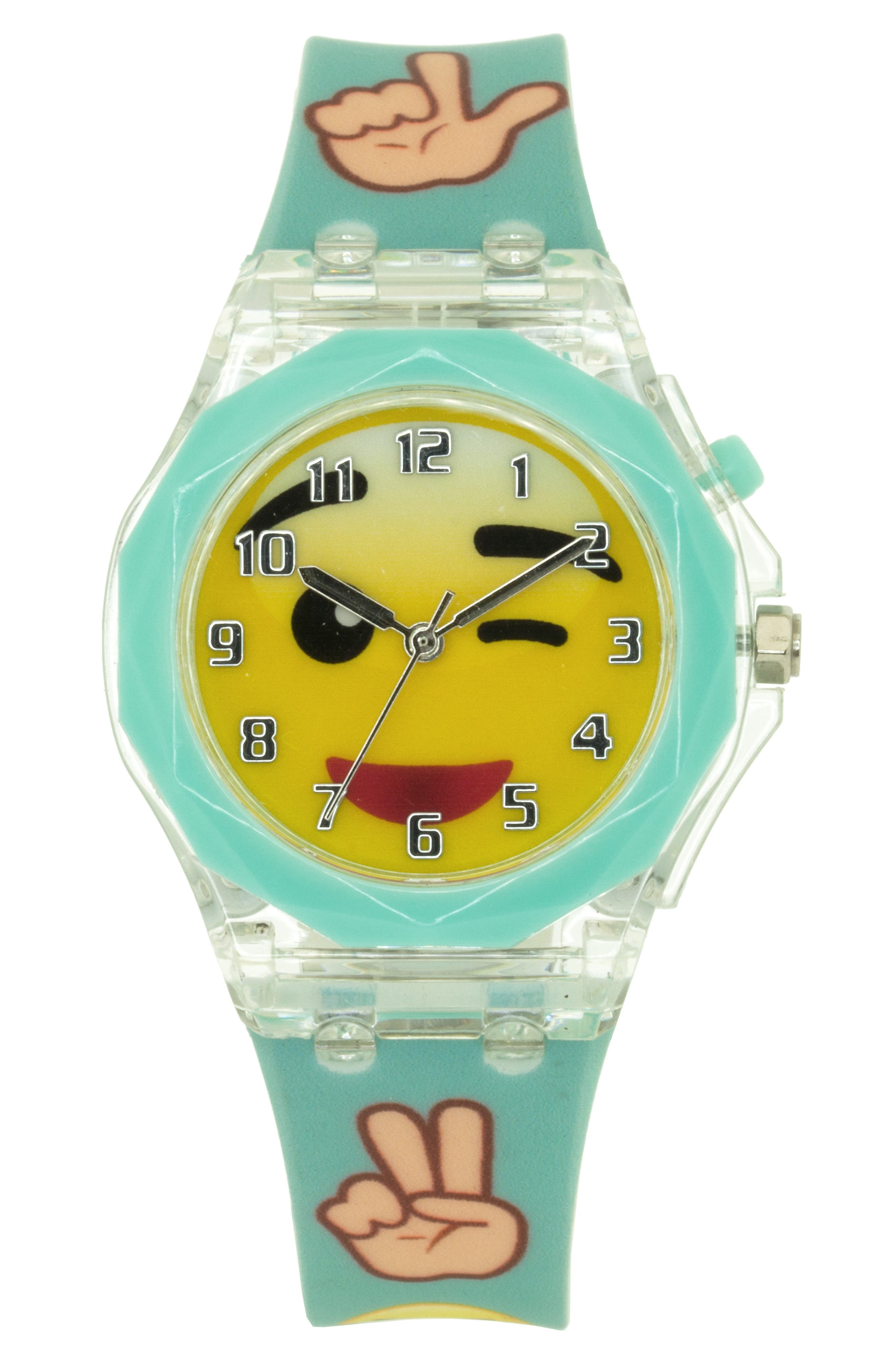 Flashing Winking Emoji Watch,                             Main thumbnail 1, color,                             300