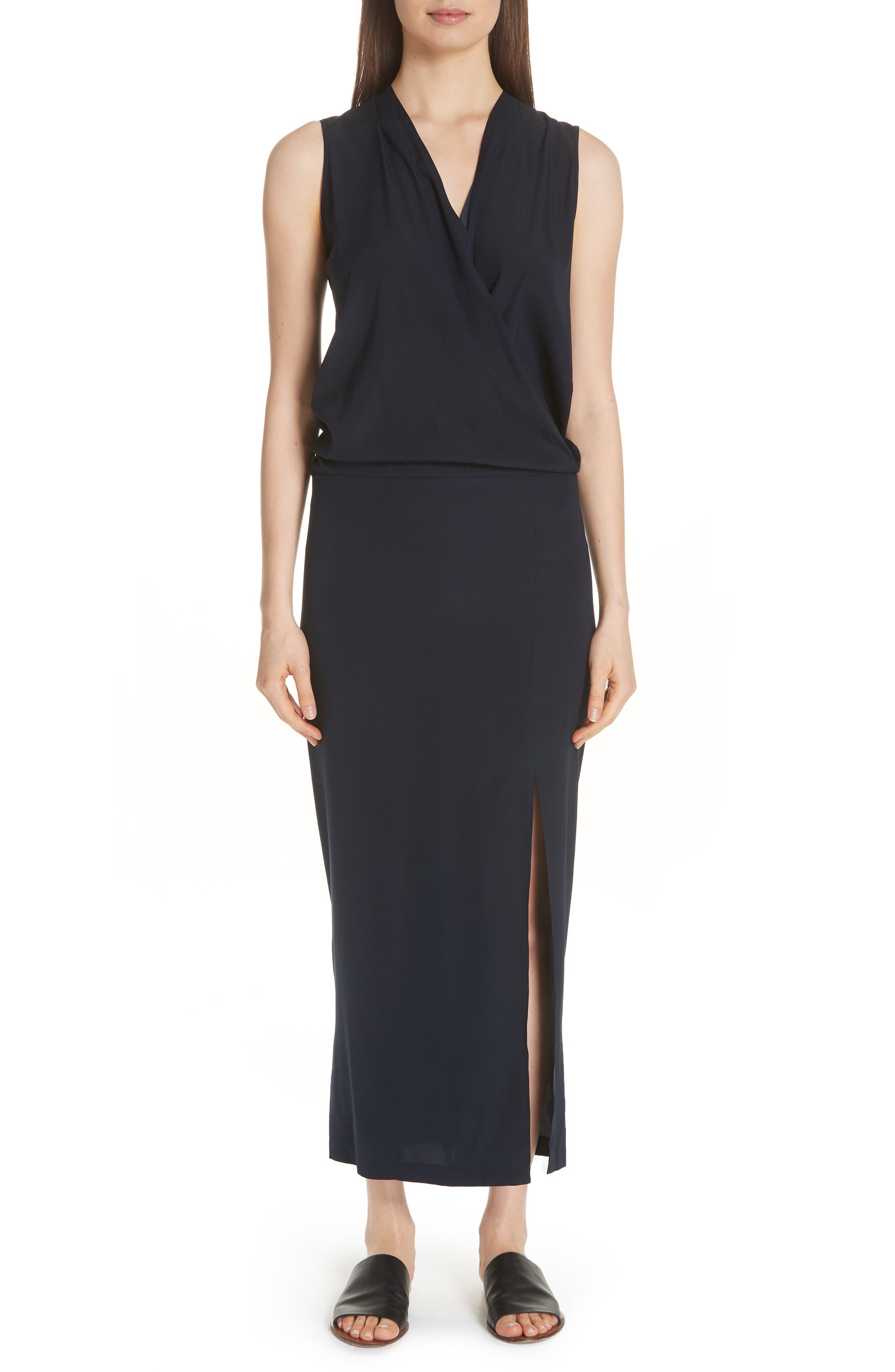 Zero + Maria Cornejo Blouson Stretch Silk Dress, Black