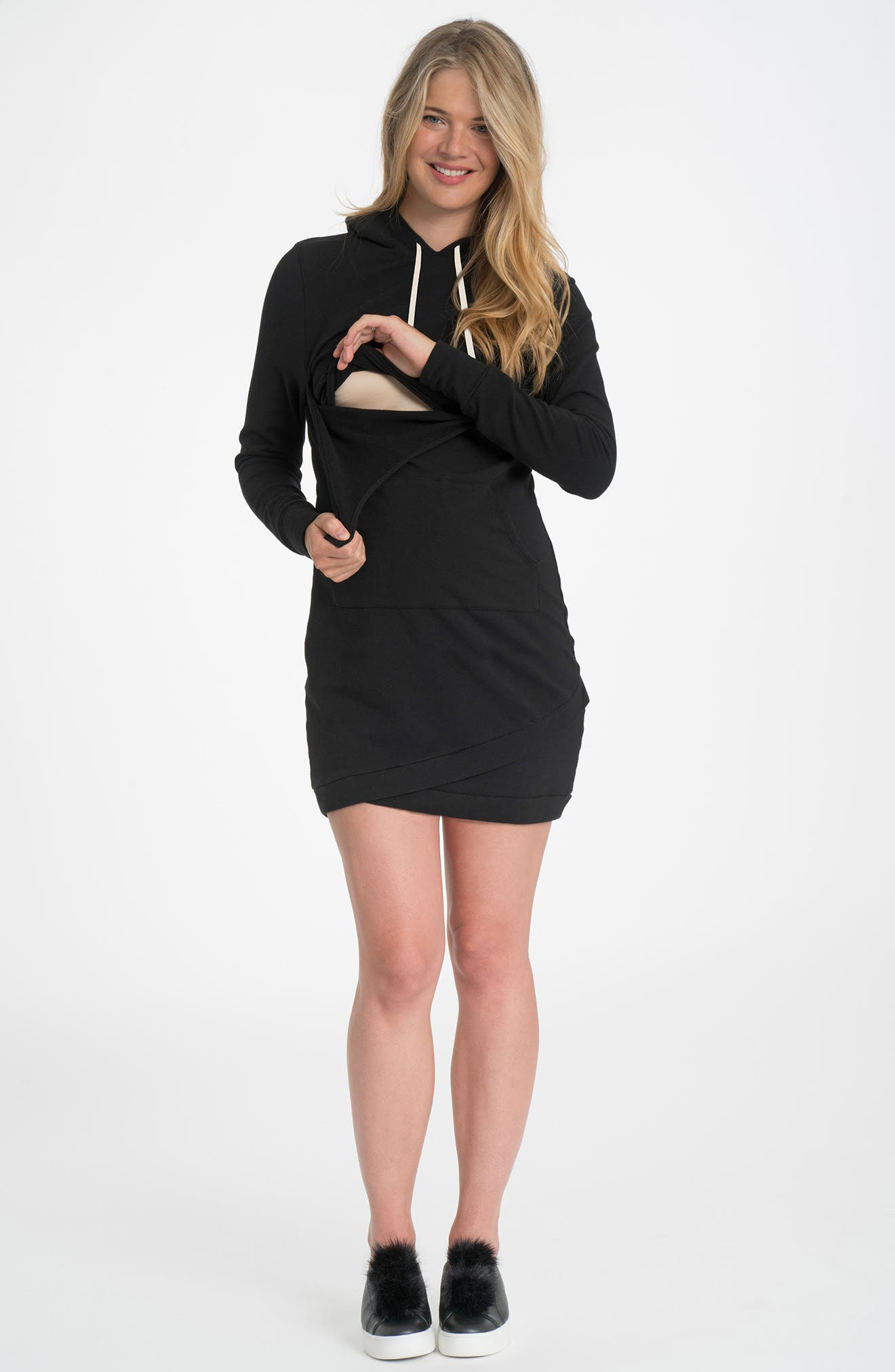 Cozy Maternity/Nursing Hooded Dress,                             Alternate thumbnail 2, color,                             BLACK