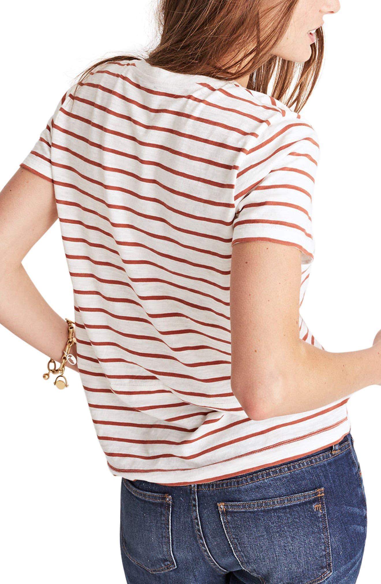 Whisper Cotton Stripe V-Neck Tee,                             Alternate thumbnail 2, color,                             100