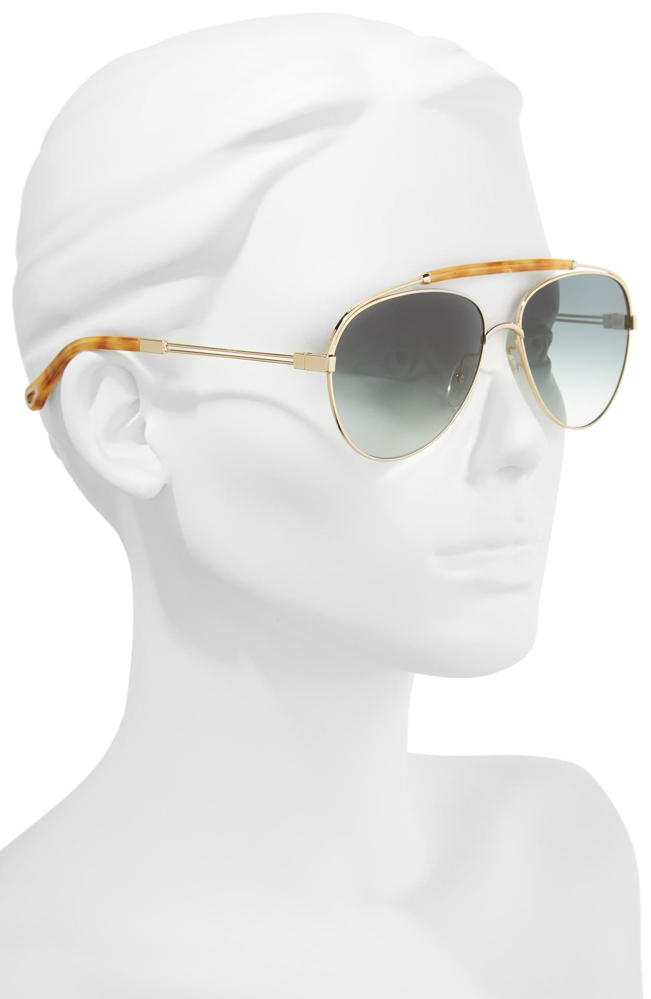 Jackie 59mm Aviator Sunglasses,                             Alternate thumbnail 2, color,                             GOLD/ BLONDE HAVANA