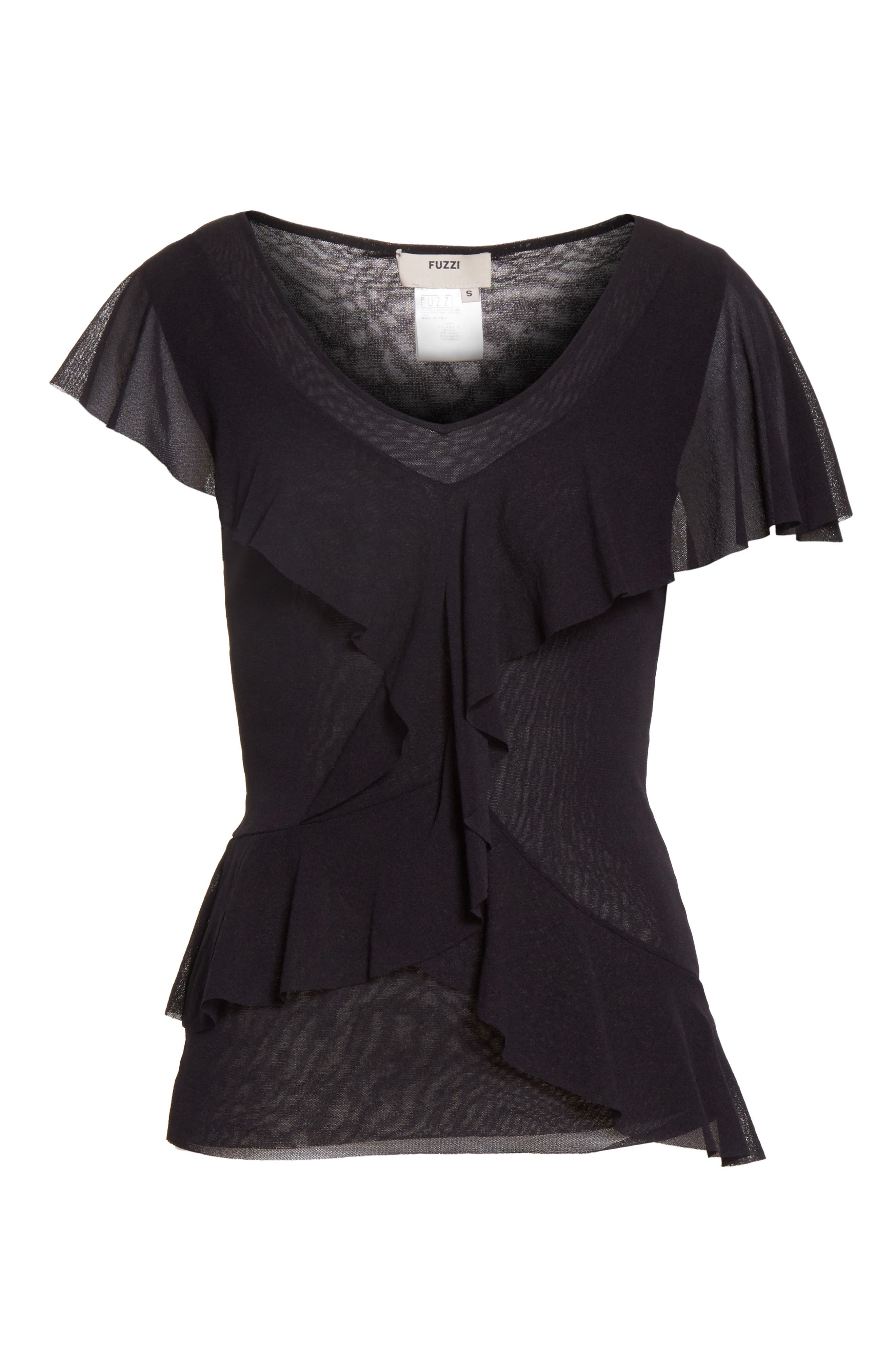 Ruffle Tulle Top,                             Alternate thumbnail 6, color,                             001