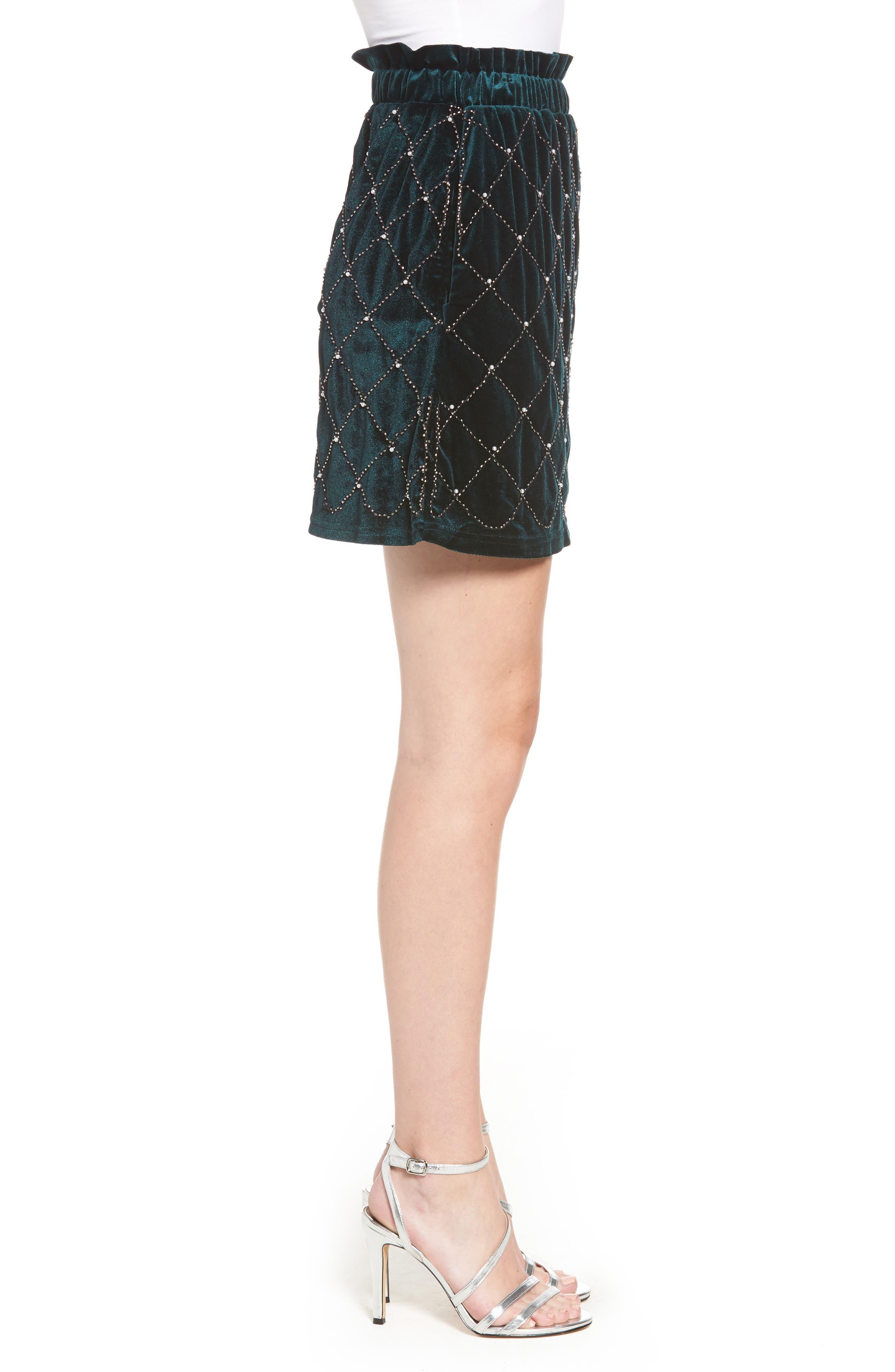 Beaded Velvet Miniskirt,                             Alternate thumbnail 3, color,                             GREEN