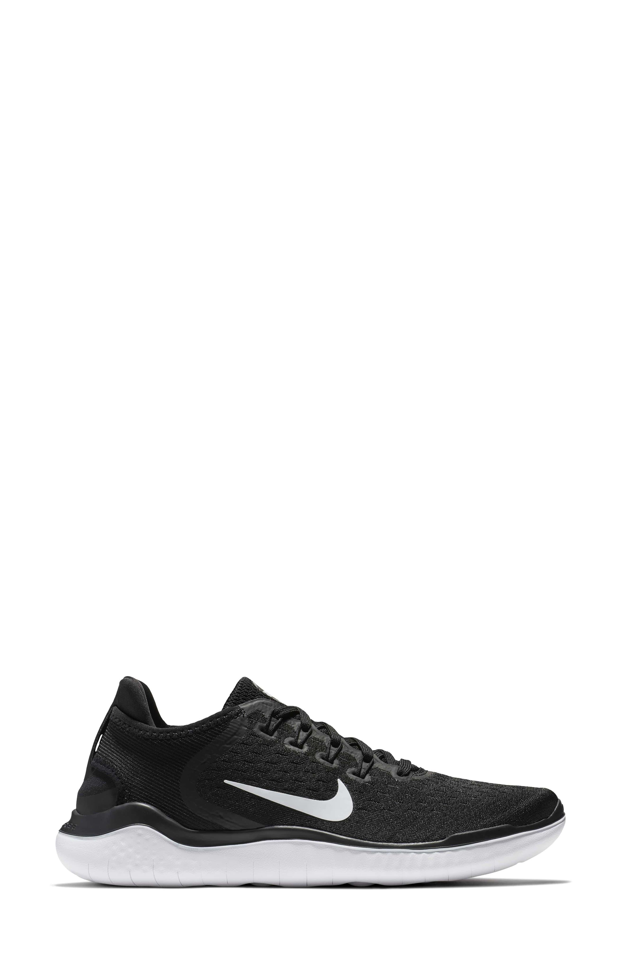 NIKE,                             Free RN 2018 Running Shoe,                             Alternate thumbnail 3, color,                             BLACK/ WHITE