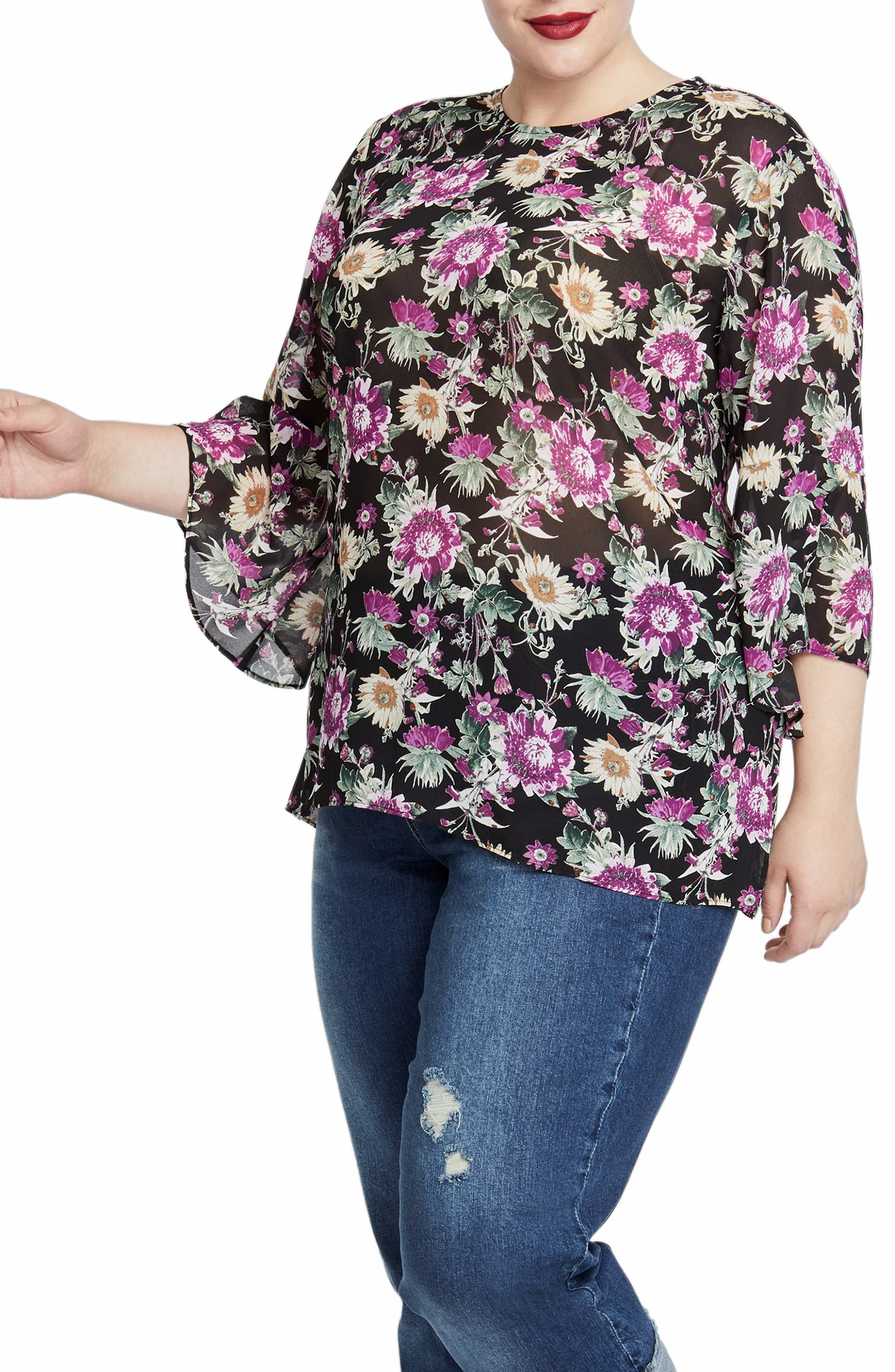 Bell Sleeve Top,                         Main,                         color, BLACK COMBO