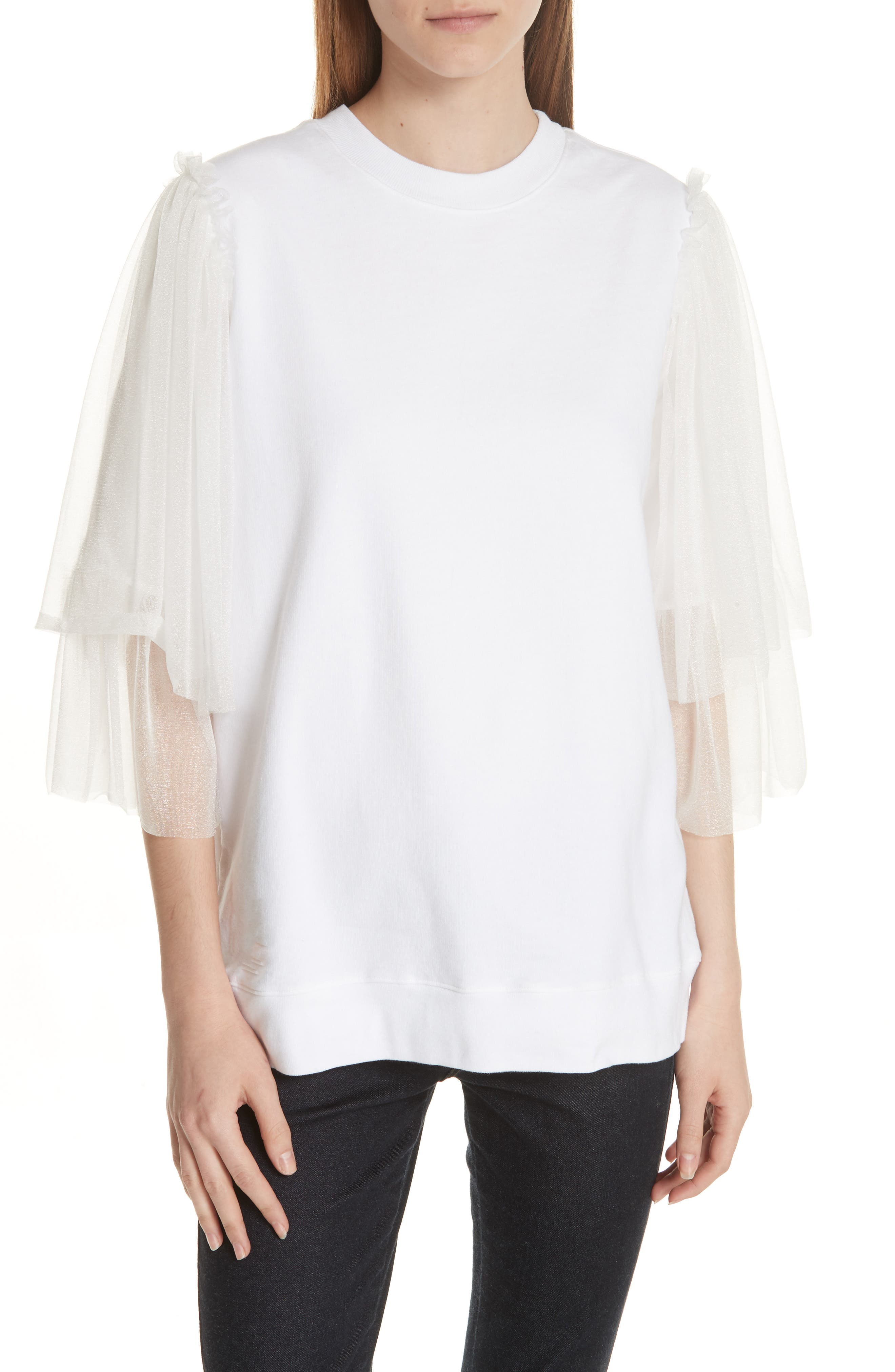 Tulle Sleeve Sweatshirt,                         Main,                         color, WHITE