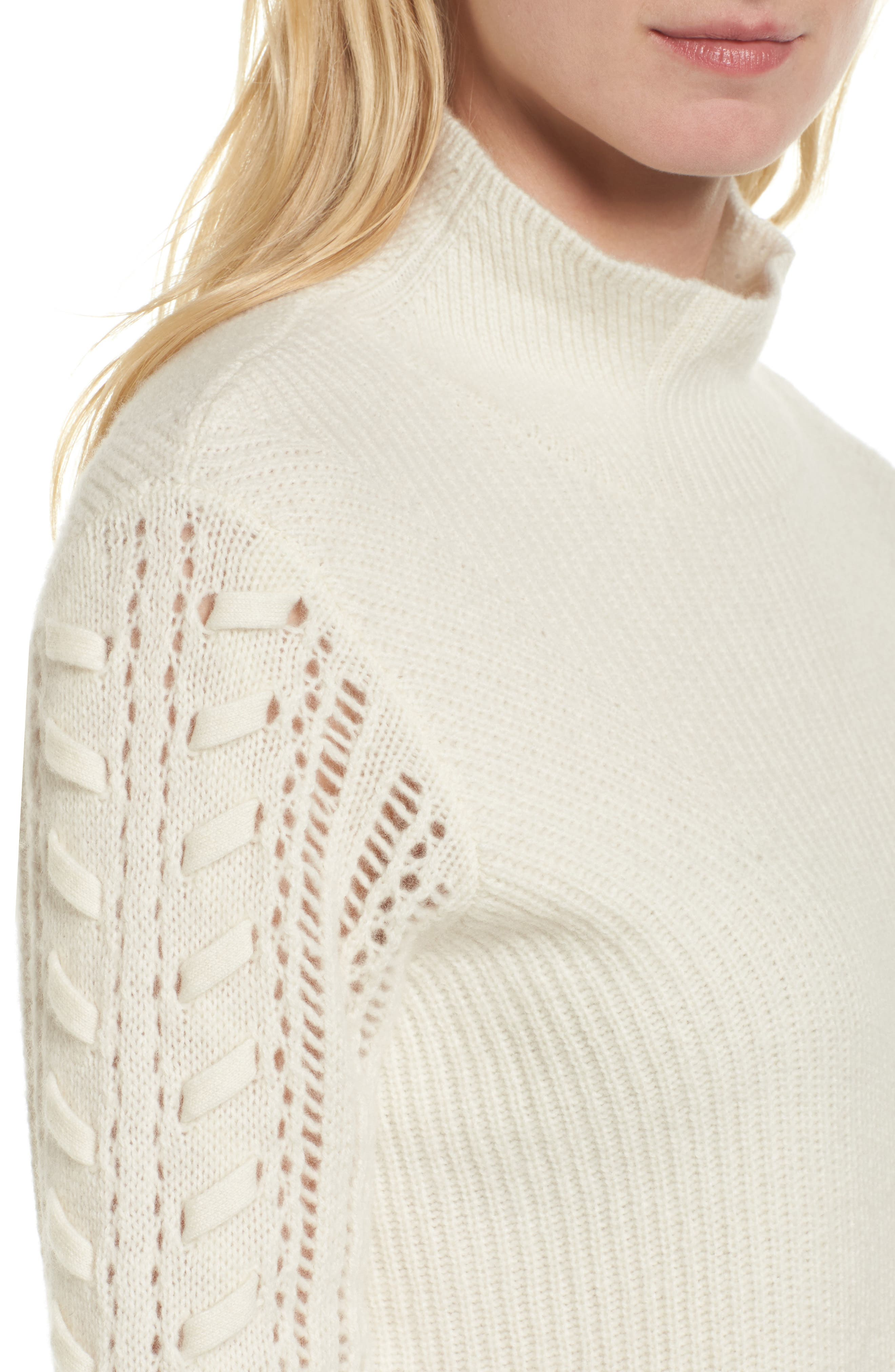 Mixed Stitch Cashmere Sweater,                             Alternate thumbnail 4, color,                             900