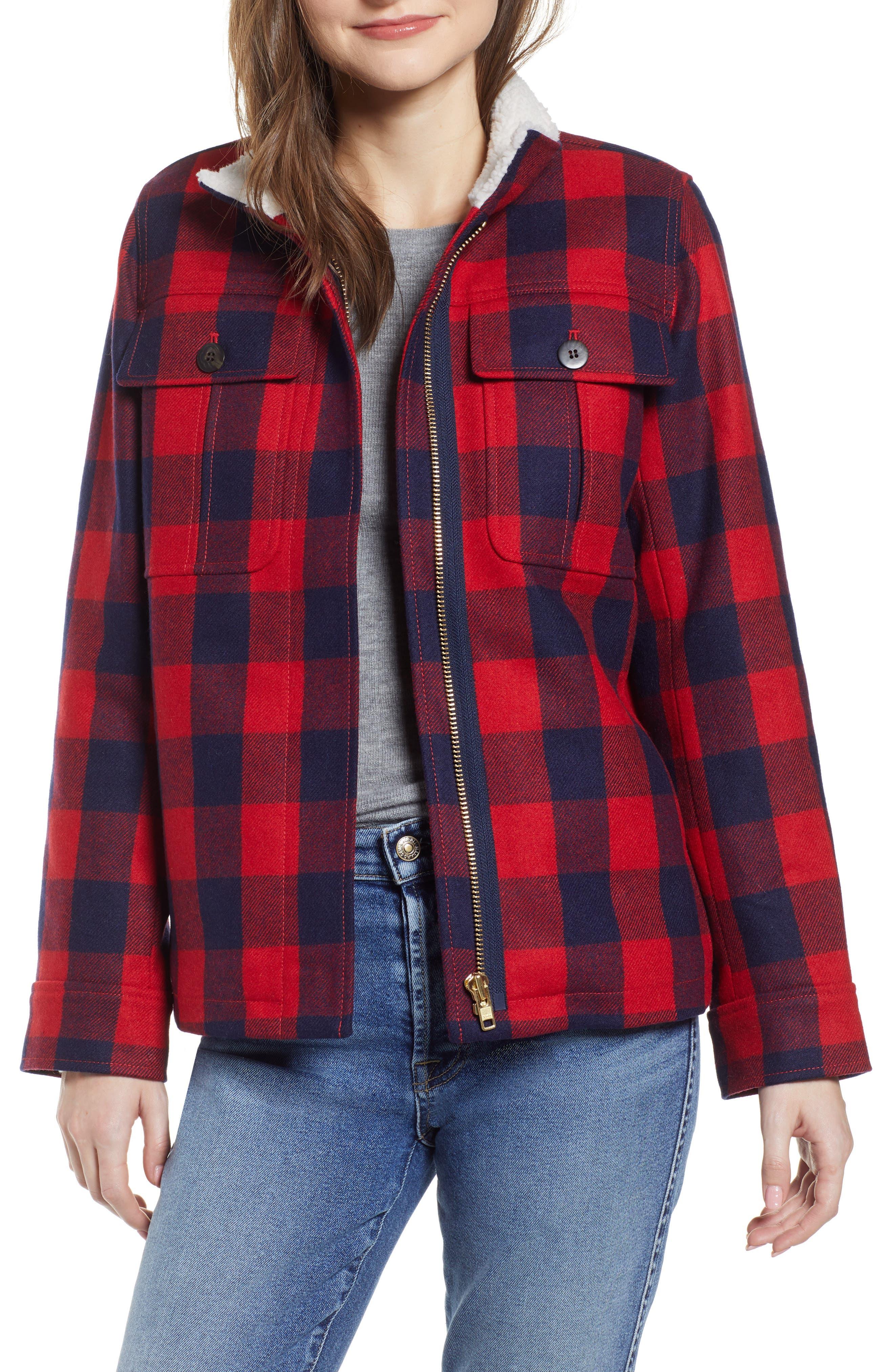 Buffalo Check Workwear Jacket with Faux Shearling Lining,                             Main thumbnail 1, color,                             RED NAVY BUFFALO