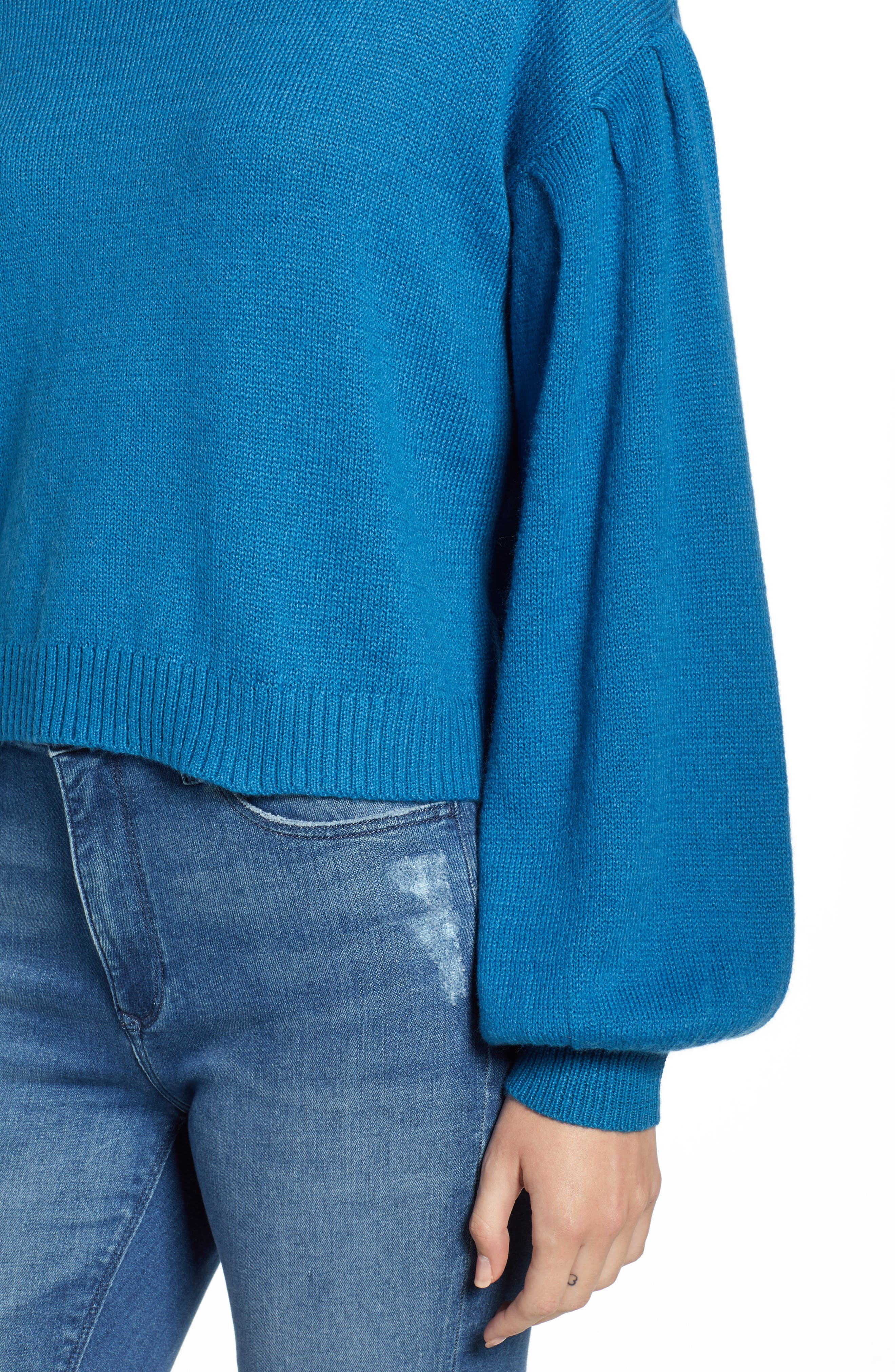 Blouson Sleeve Sweater,                             Alternate thumbnail 4, color,                             TEAL SAPPHIRE