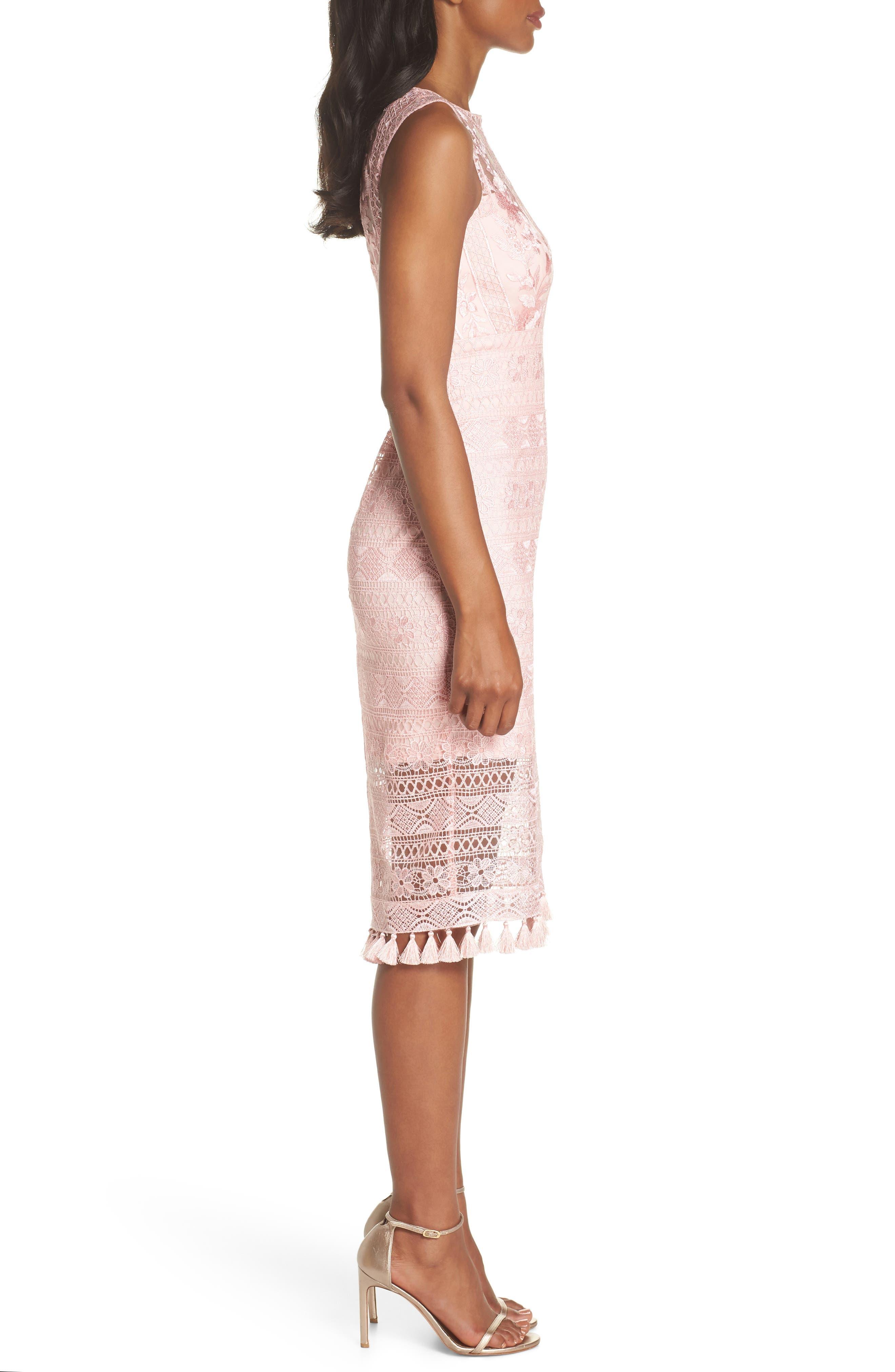 Embroidered Lace Sheath Dress,                             Alternate thumbnail 3, color,                             ROSE QUARTZ