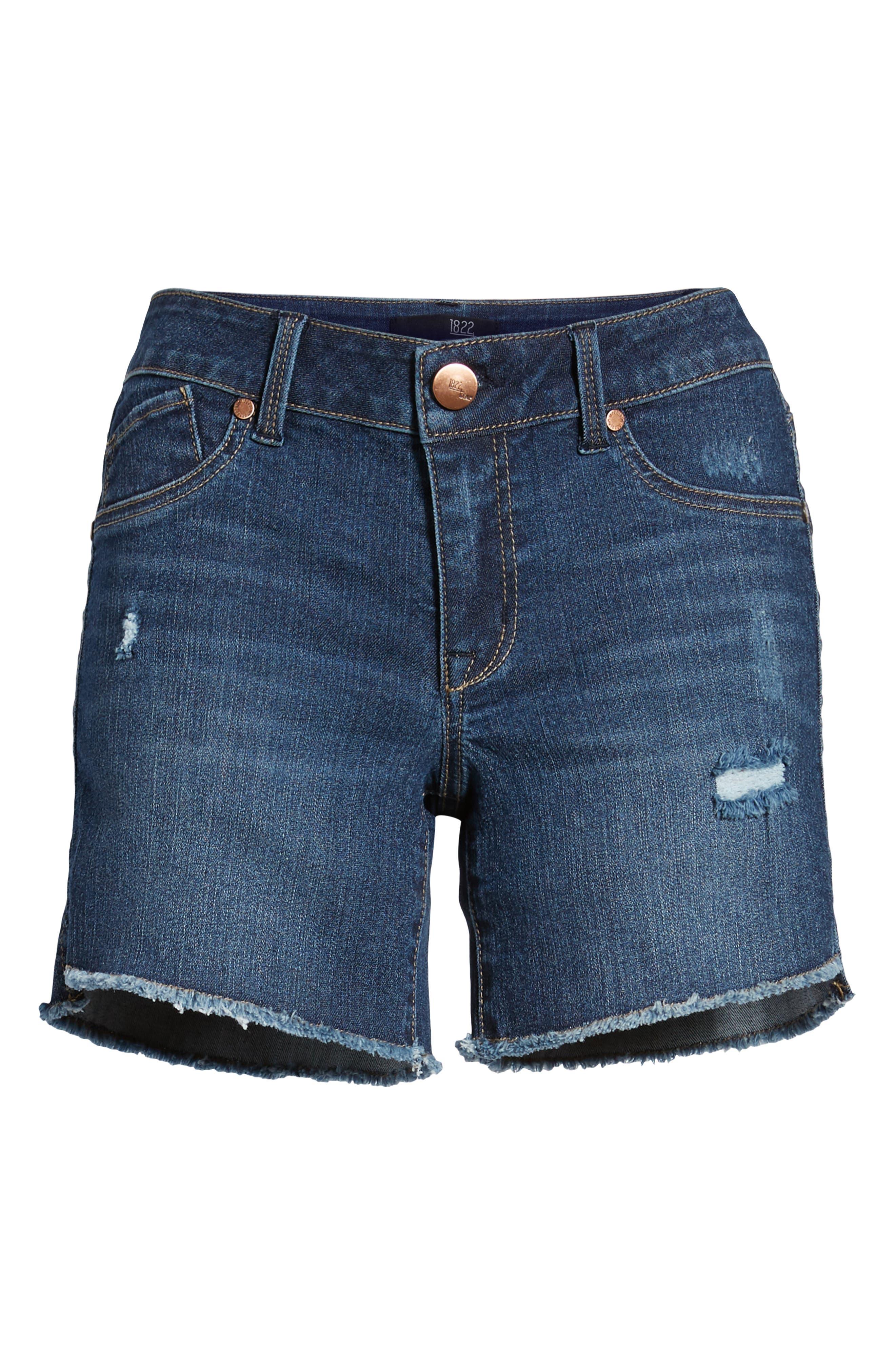 Side Slit Cutoff Denim Shorts,                             Alternate thumbnail 7, color,                             400