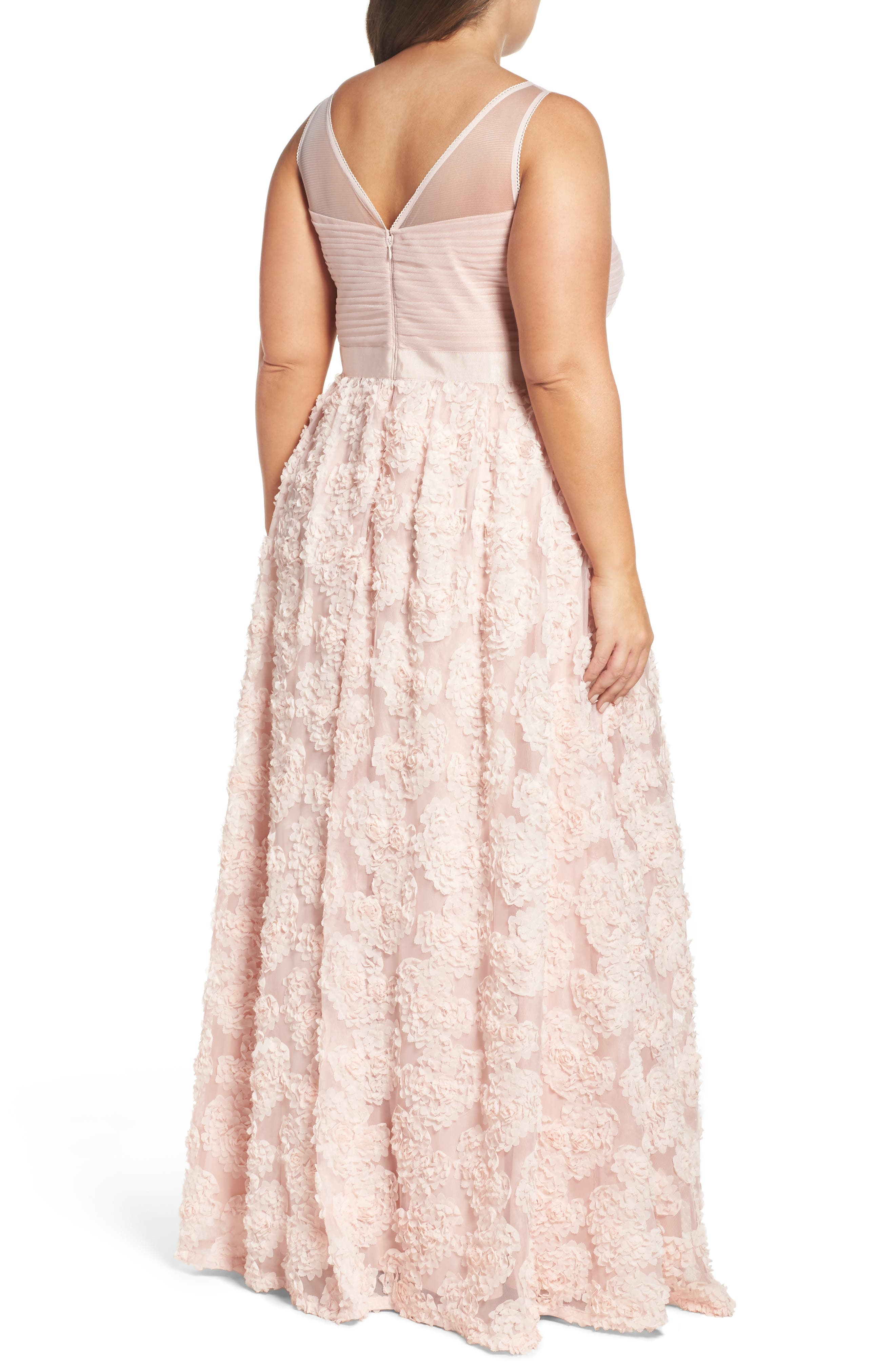 Embellished Petal Chiffon Ballgown,                             Alternate thumbnail 6, color,