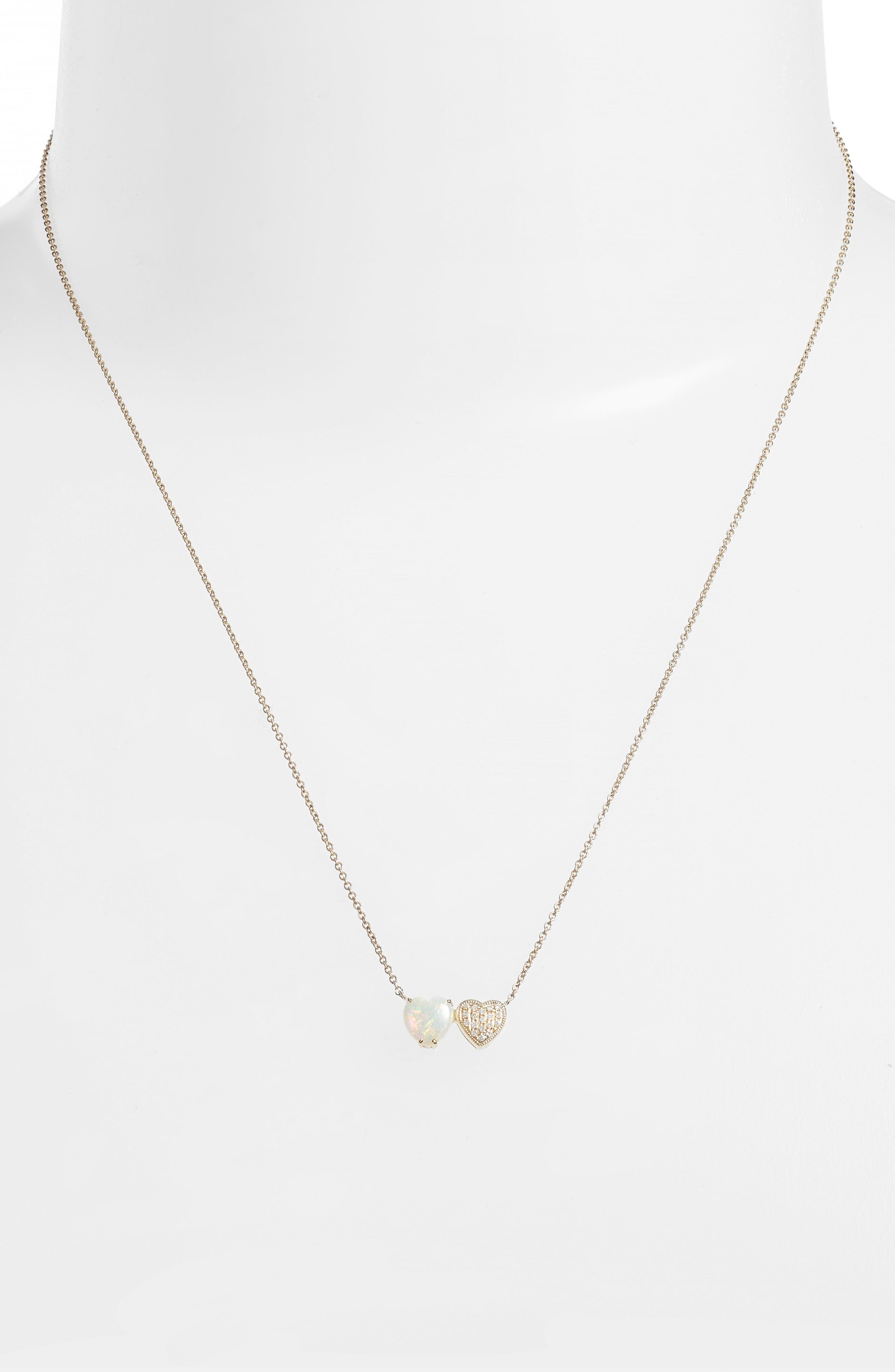 Semiprecious Stone & Diamond Pendant Necklace,                             Alternate thumbnail 2, color,                             YELLOW GOLD