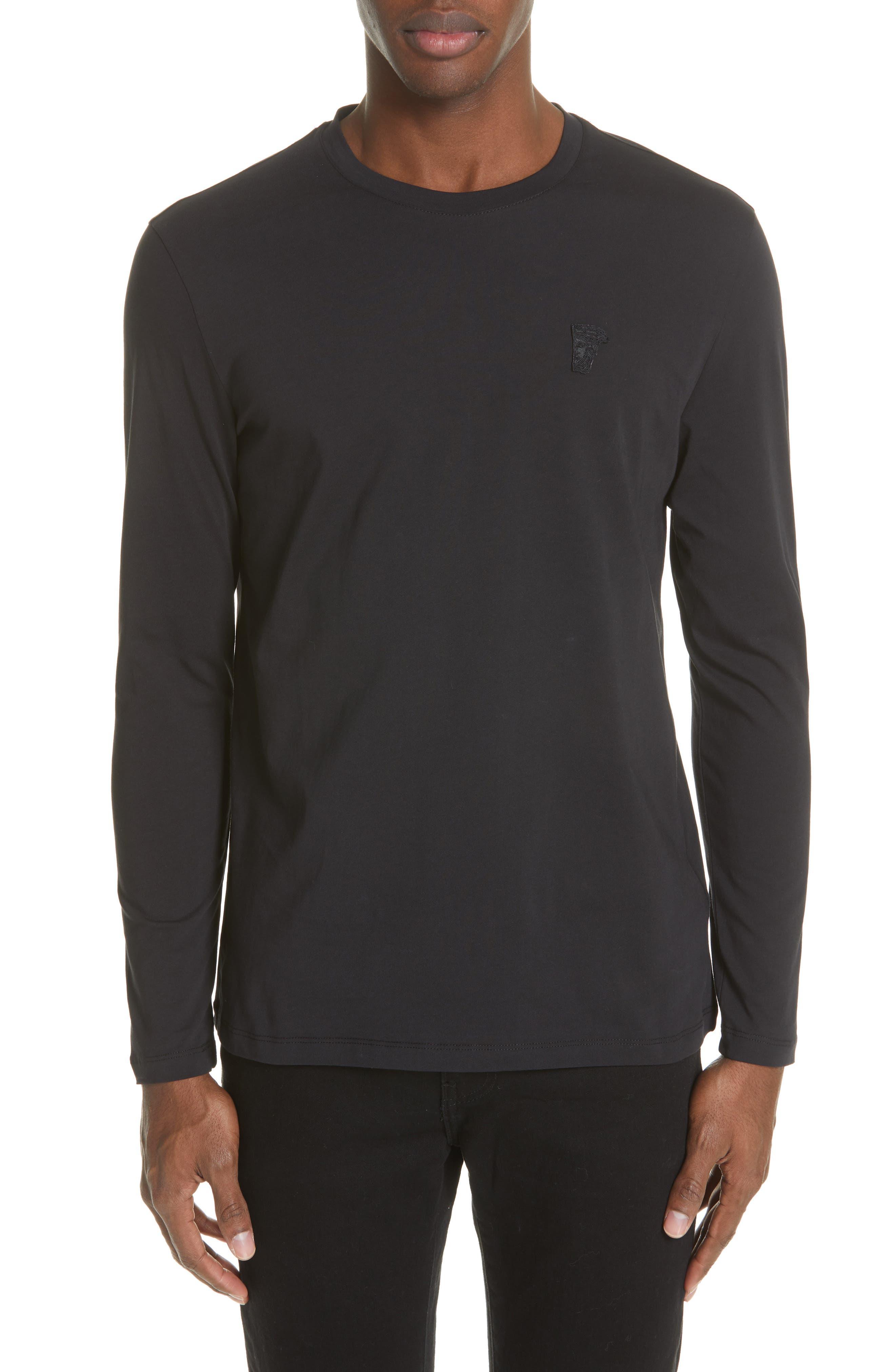 VERSACE COLLECTION,                             Medusa Long Sleeve T-Shirt,                             Main thumbnail 1, color,                             BLACK