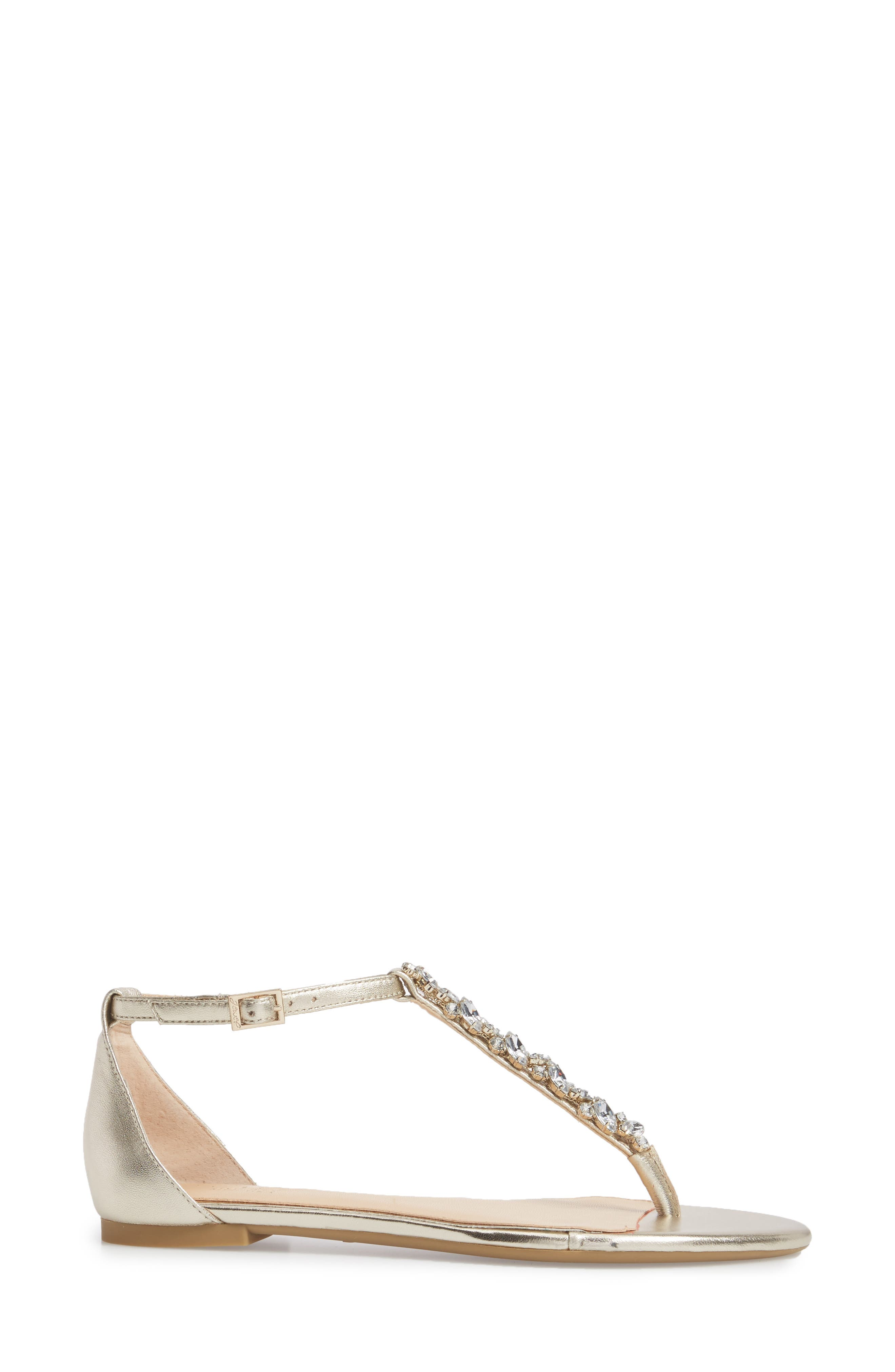 Carrol Embellished T-Strap Sandal,                             Alternate thumbnail 3, color,                             GOLD METALLIC LEATHER