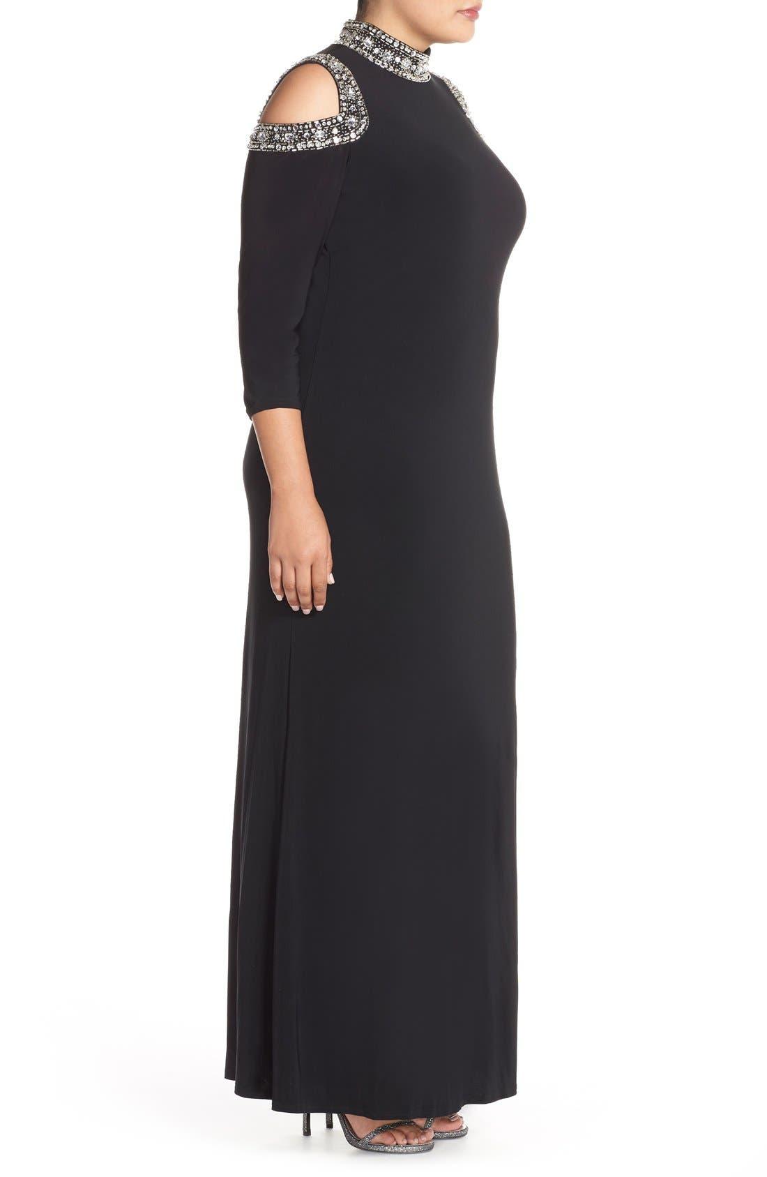 Embellished Neck Cold Shoulder Gown,                             Alternate thumbnail 3, color,                             001