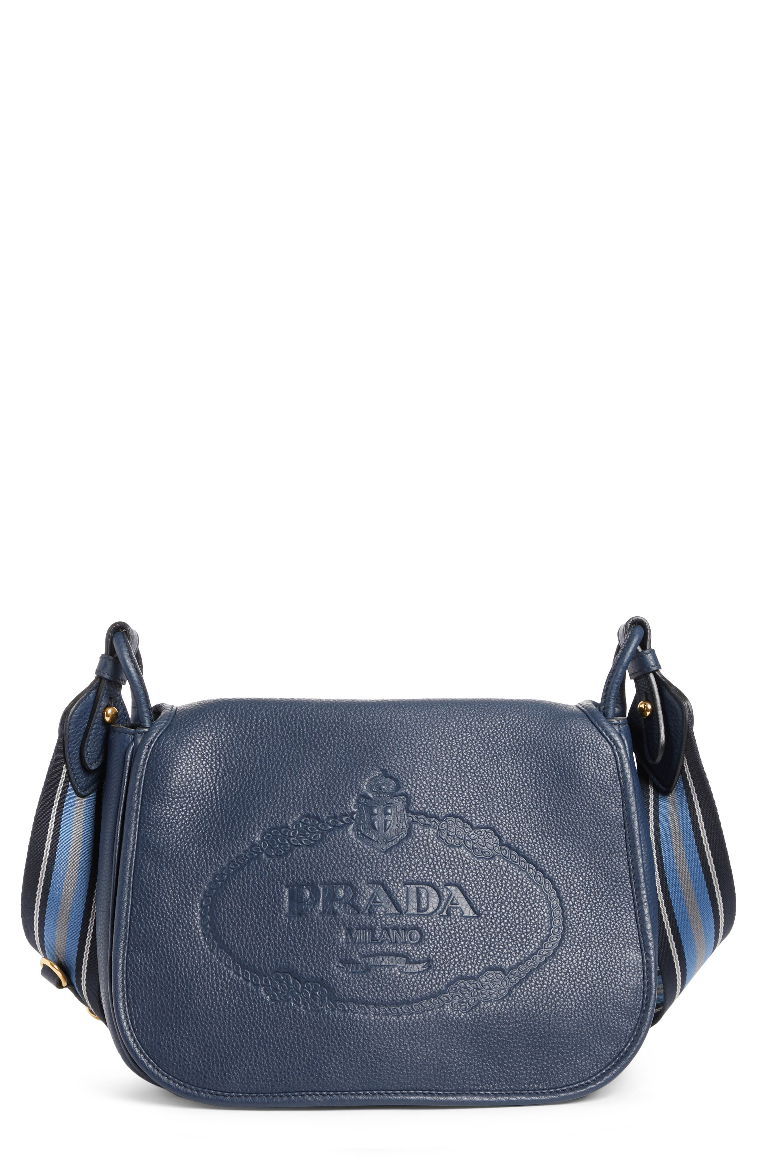 Vitello Daino Heritage Logo Leather Crossbody Bag,                             Main thumbnail 2, color,