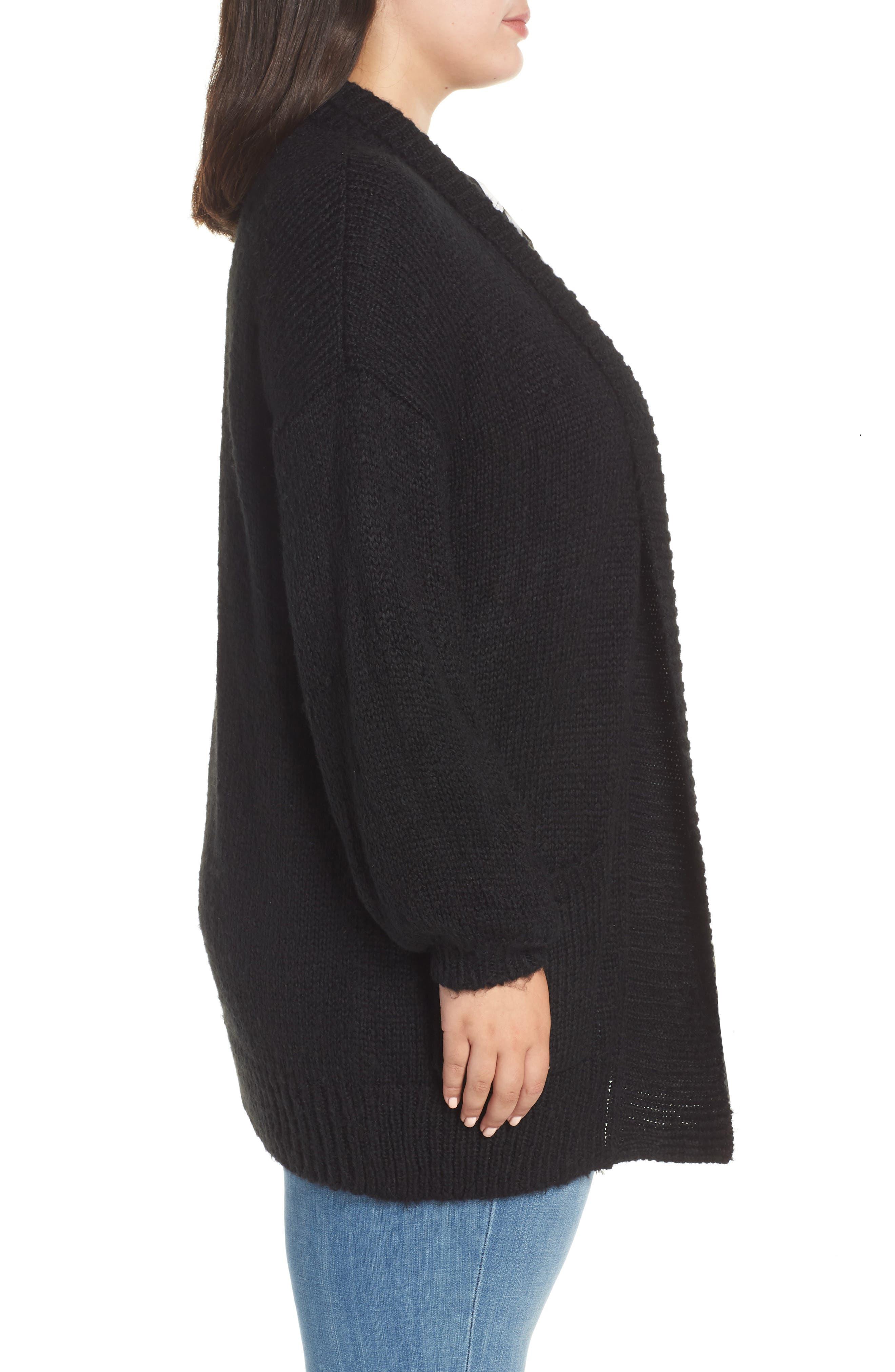 Cozy Shawl Collar Cardigan,                             Alternate thumbnail 3, color,                             BLACK