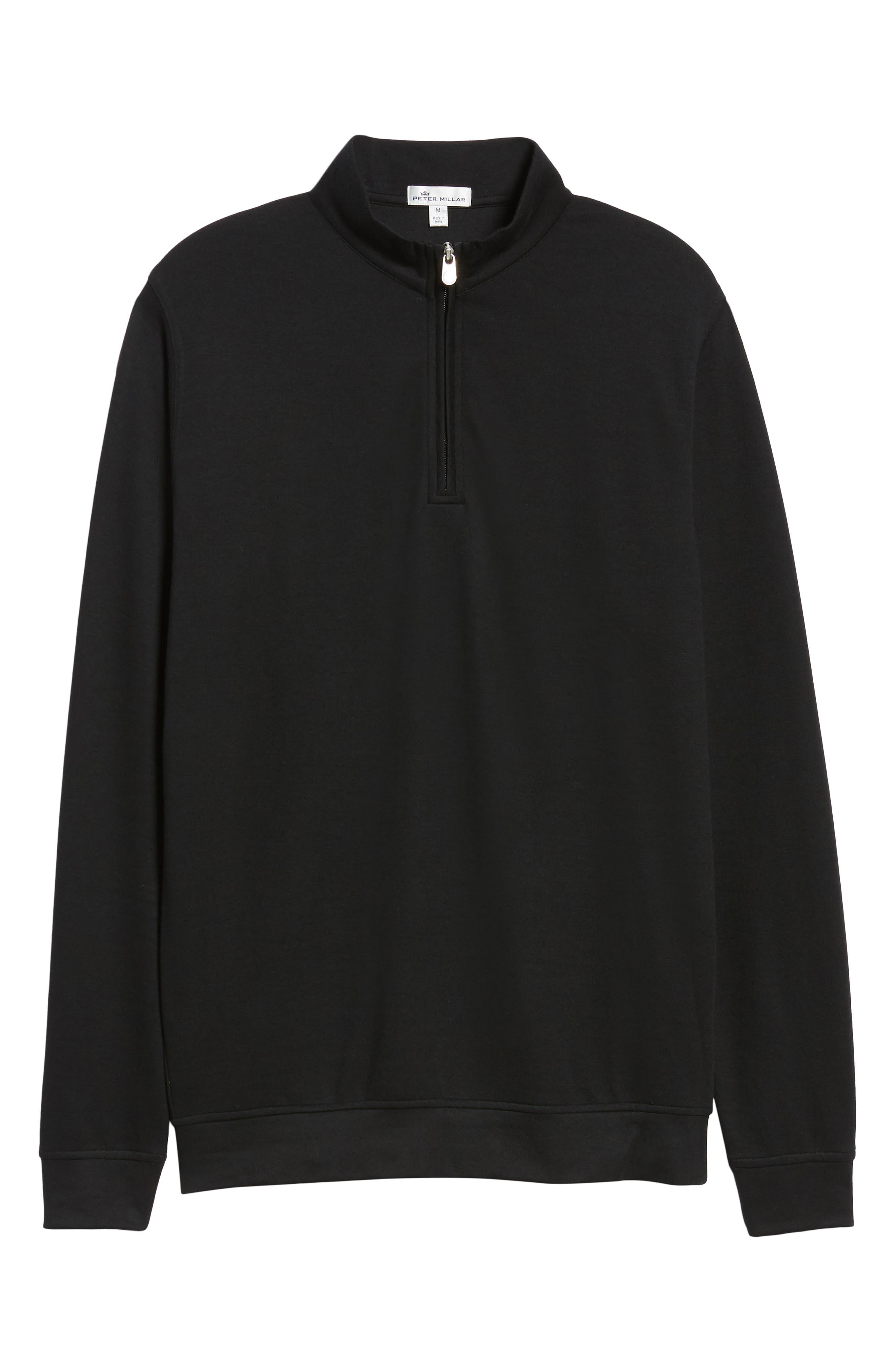 Comfort Interlock Quarter Zip Pullover,                             Alternate thumbnail 6, color,                             BLACK