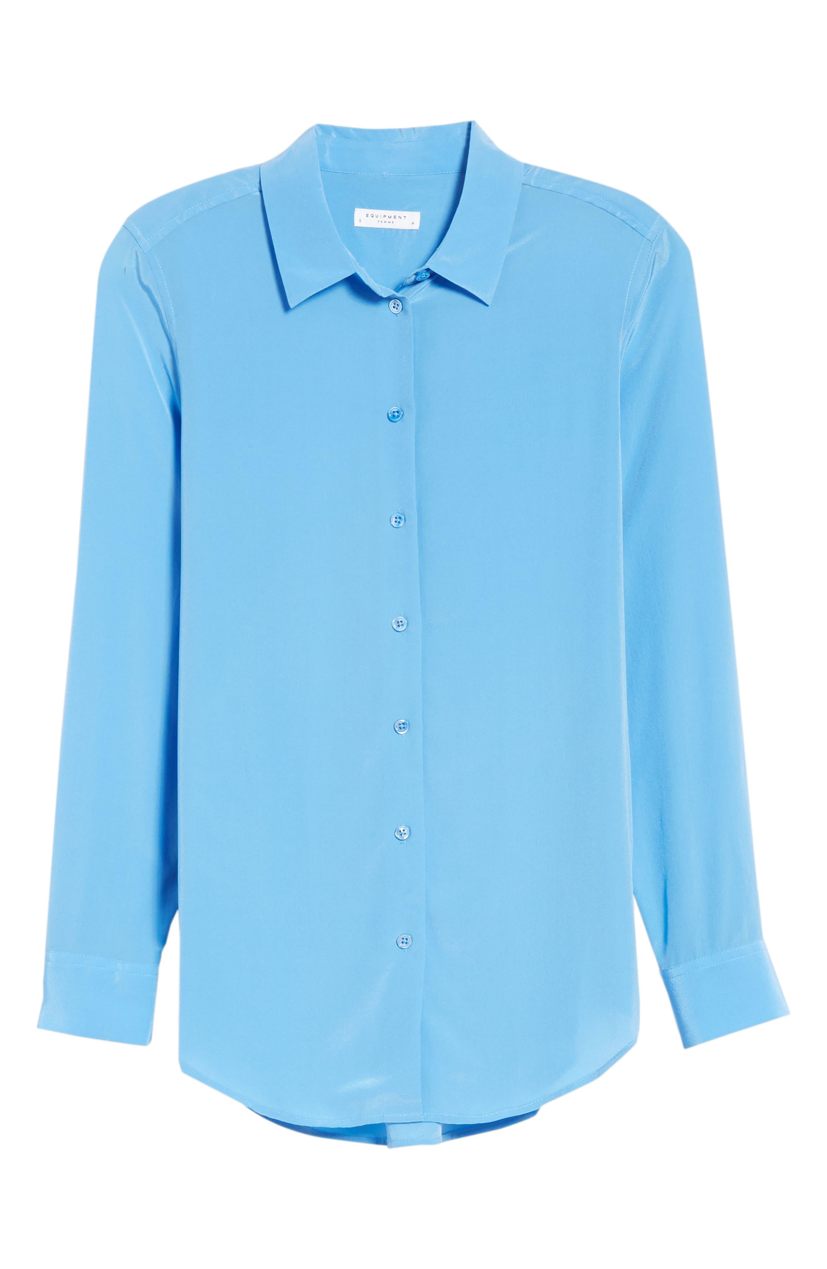 Essential Silk Blouse,                             Alternate thumbnail 6, color,                             ACADEMY BLUE