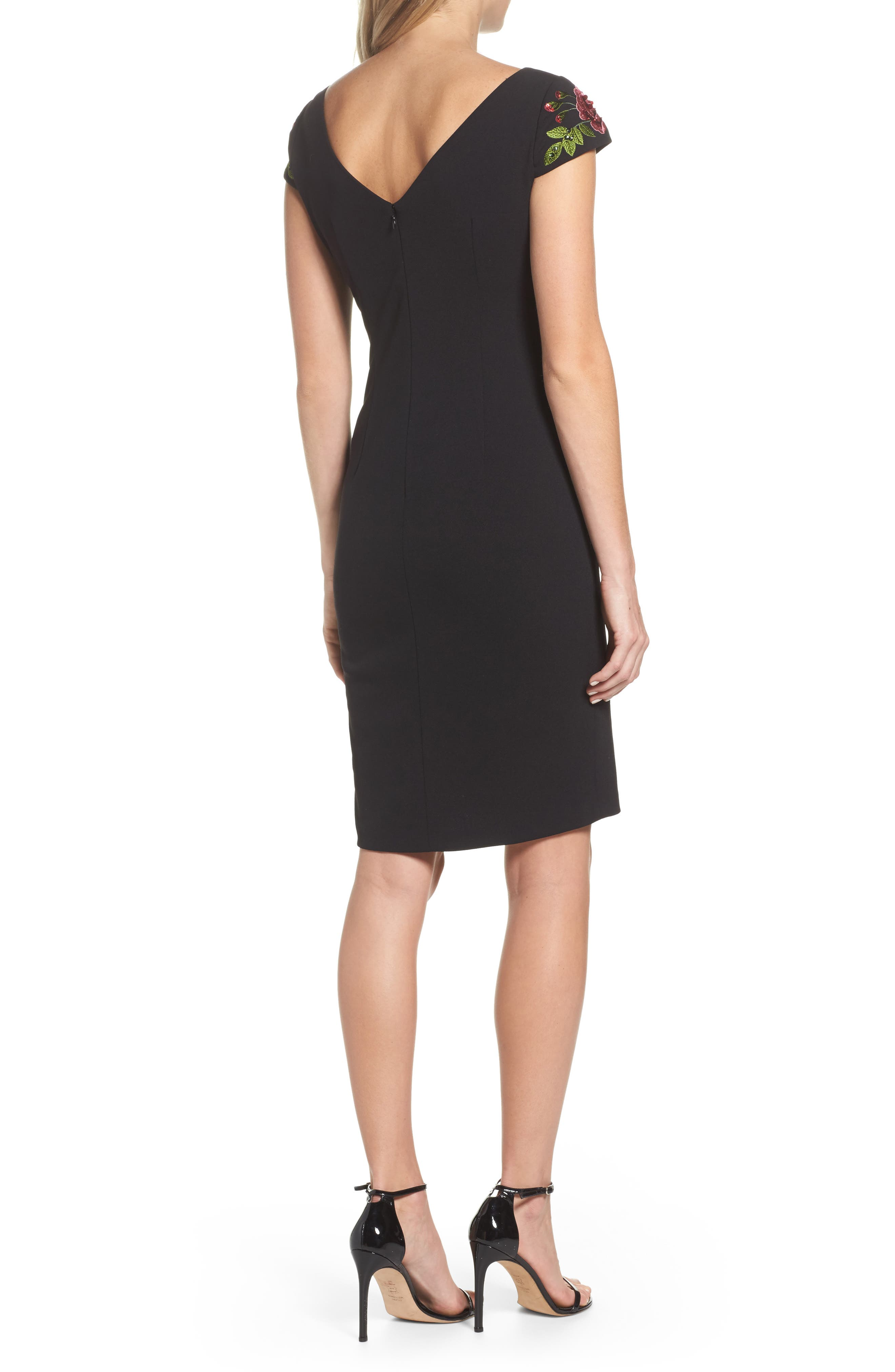 Embroidered Crepe Sheath Dress,                             Alternate thumbnail 2, color,