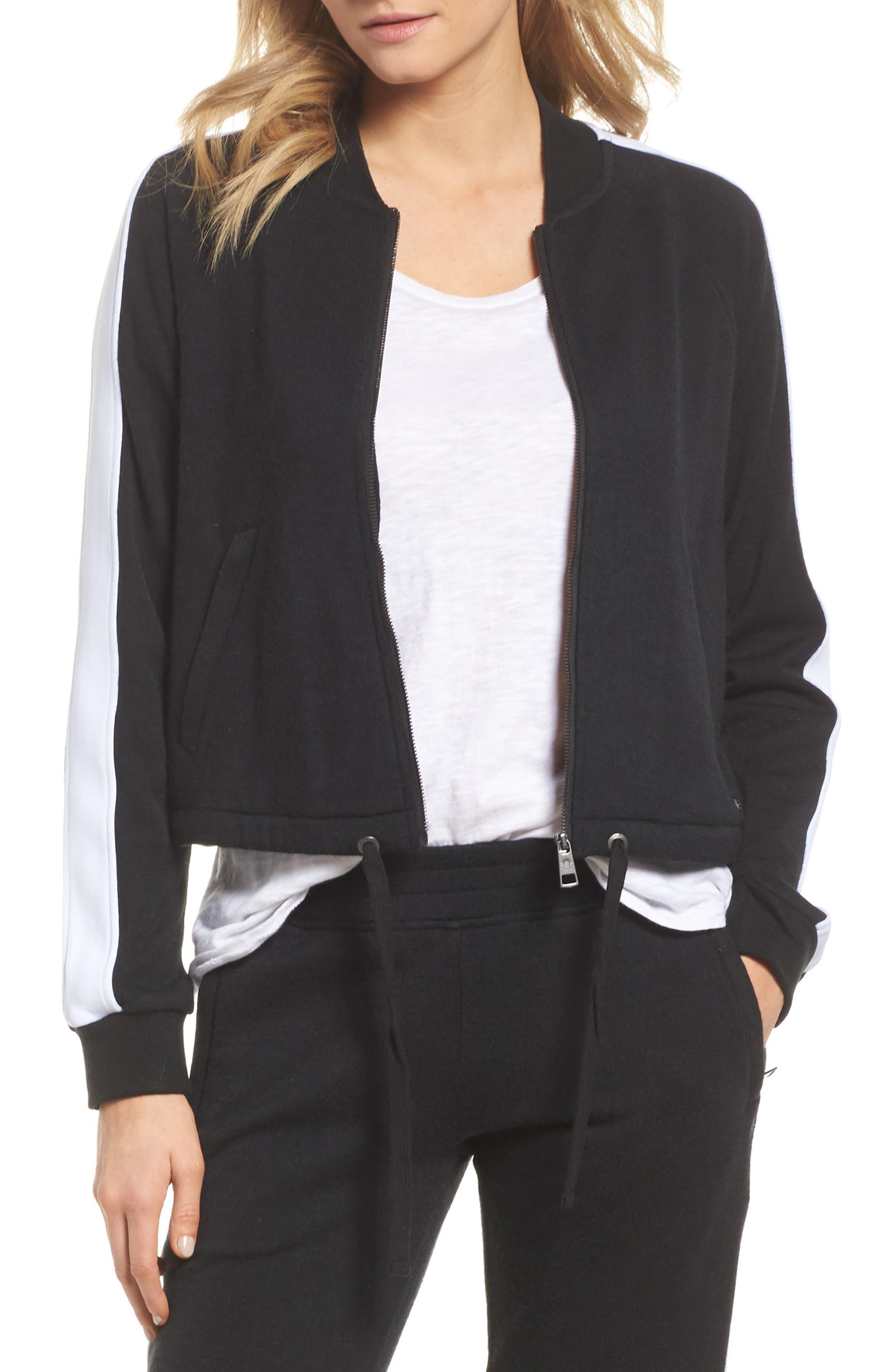 Lizy Track Jacket,                         Main,                         color, BLACK