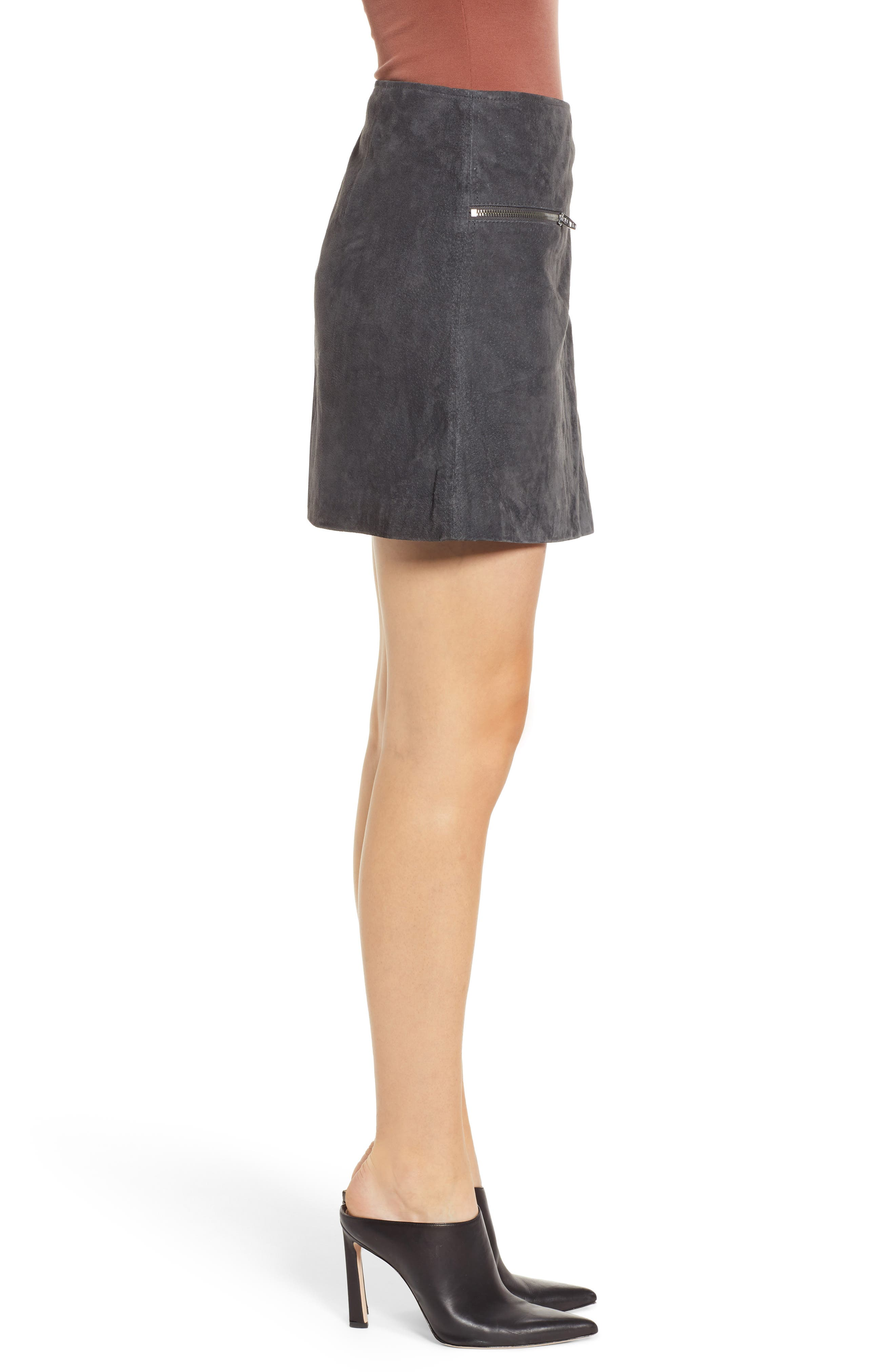 A-Line Suede Miniskirt,                             Alternate thumbnail 3, color,                             020