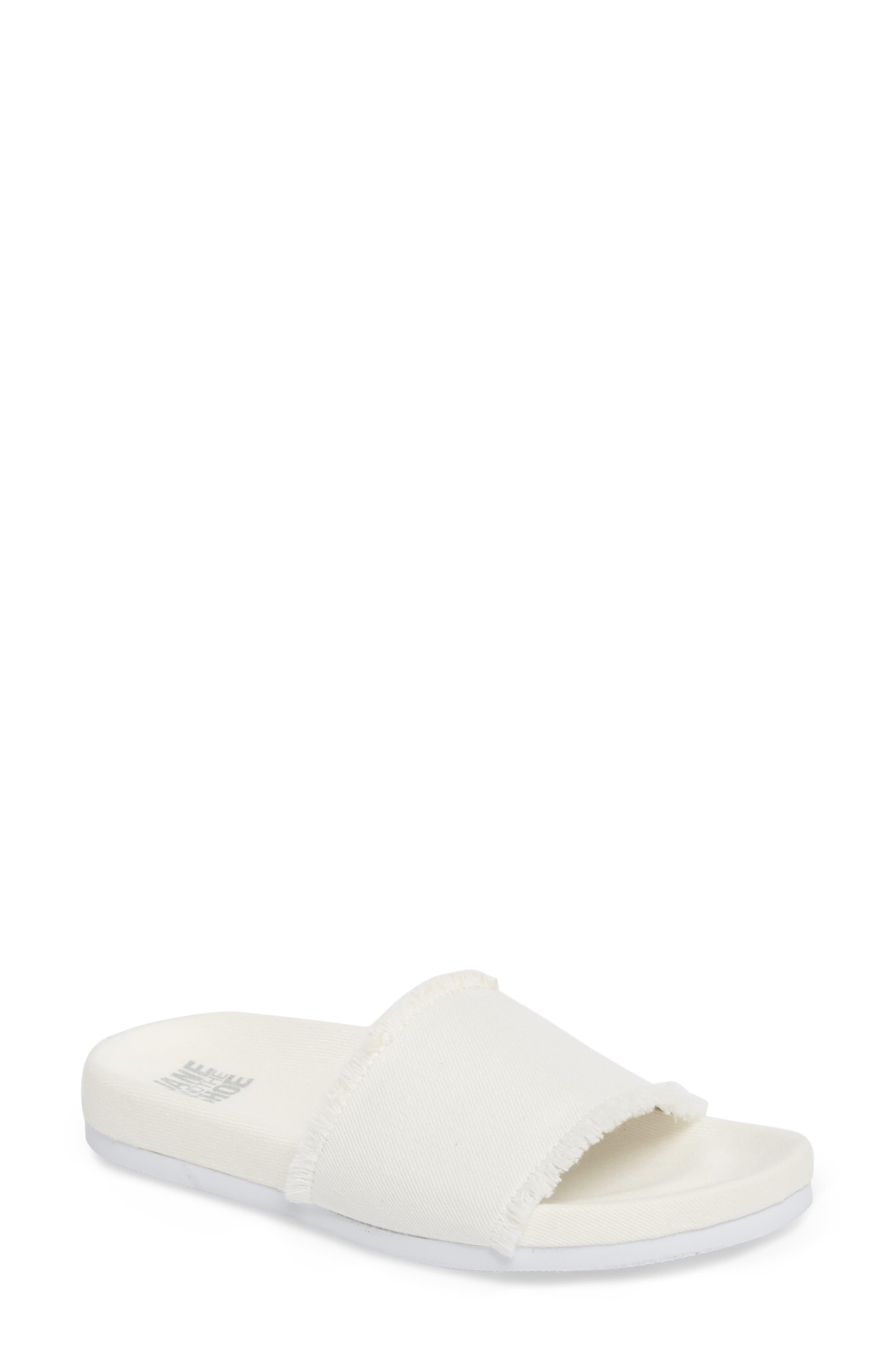 Kelsey Frayed Edge Slide Sandal,                         Main,                         color,