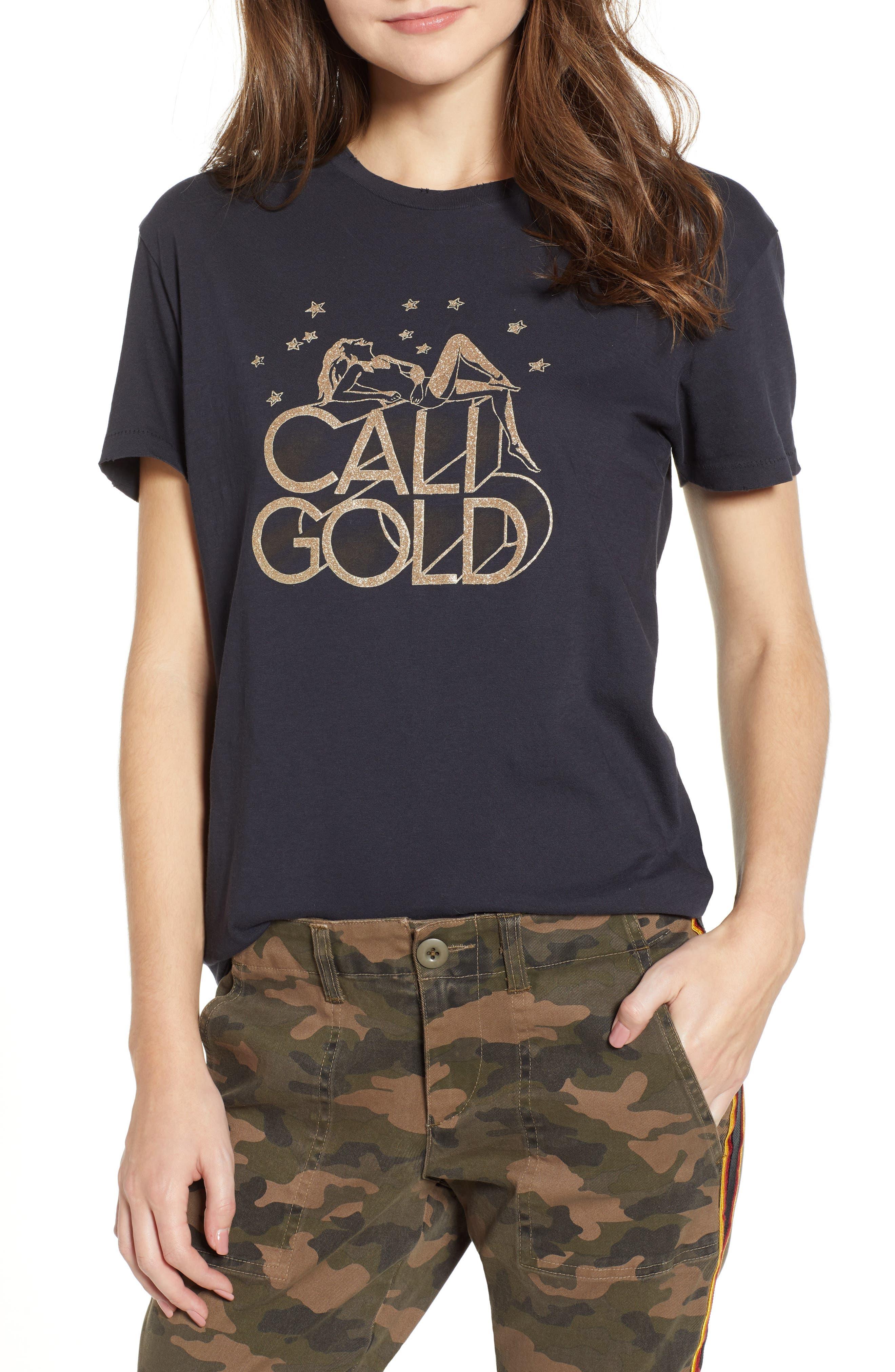 Cali Gold Tee,                             Main thumbnail 1, color,                             FADED BLACK