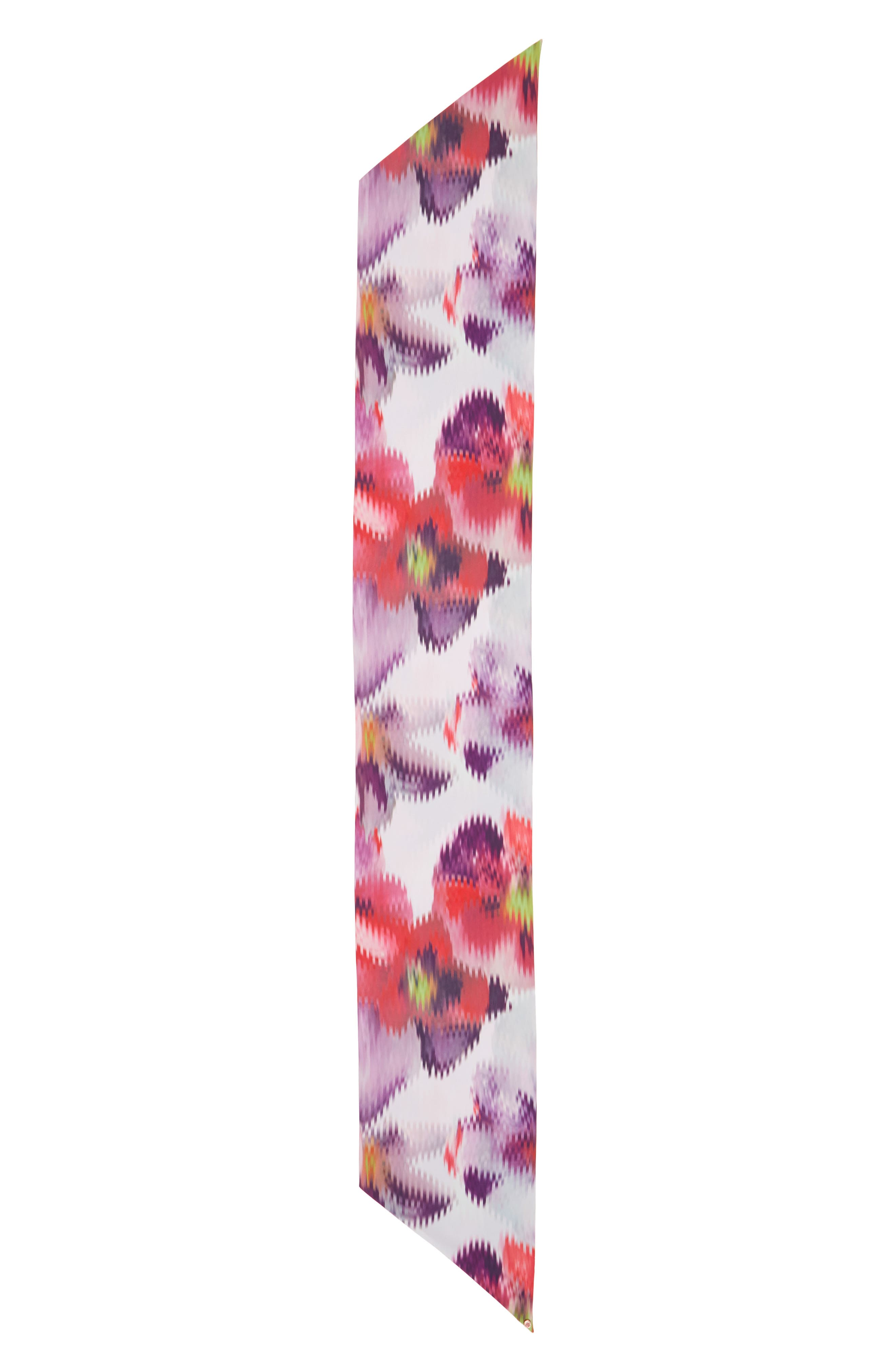Evonna Expressive Pansy Skinny Scarf,                             Alternate thumbnail 2, color,                             050