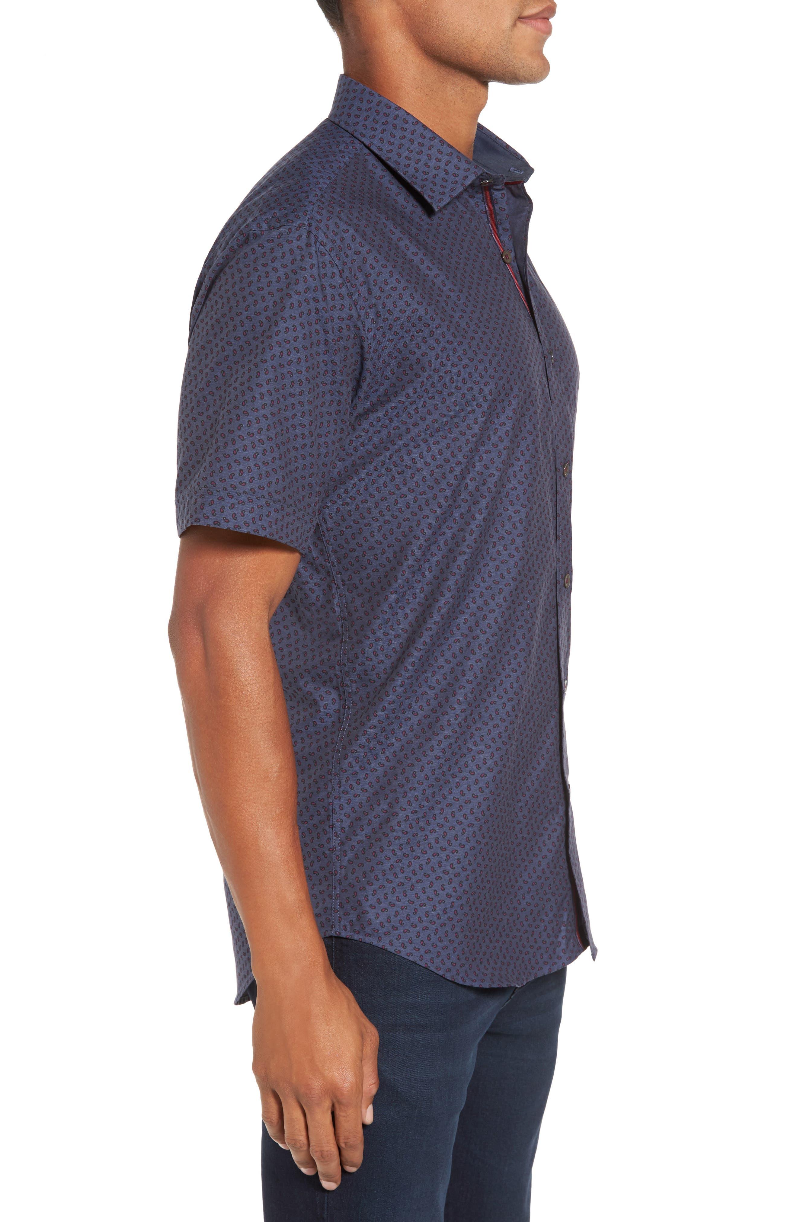 Shaped Fit Print Sport Shirt,                             Alternate thumbnail 3, color,                             030