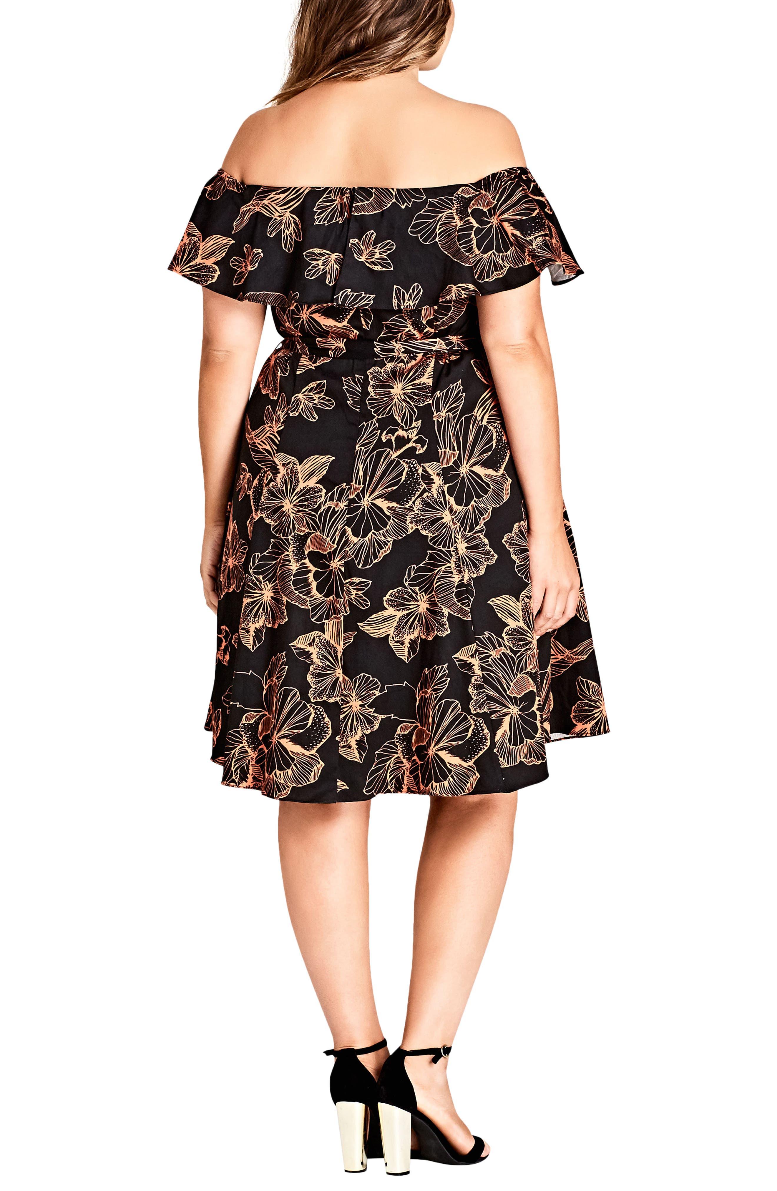 Floral Off the Shoulder Fit & Flare Dress,                             Alternate thumbnail 2, color,                             101
