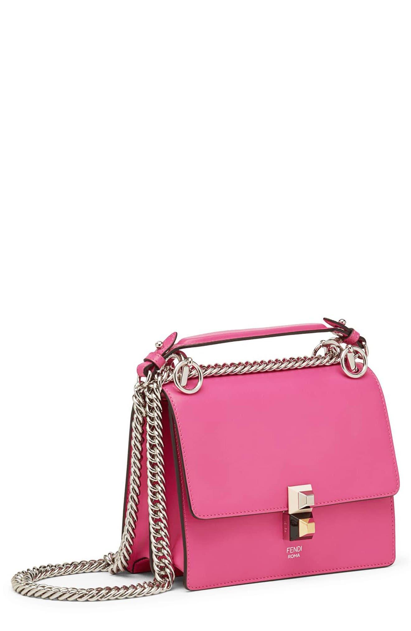 Small Kan I Leather Shoulder Bag,                         Main,                         color, GERANIUM