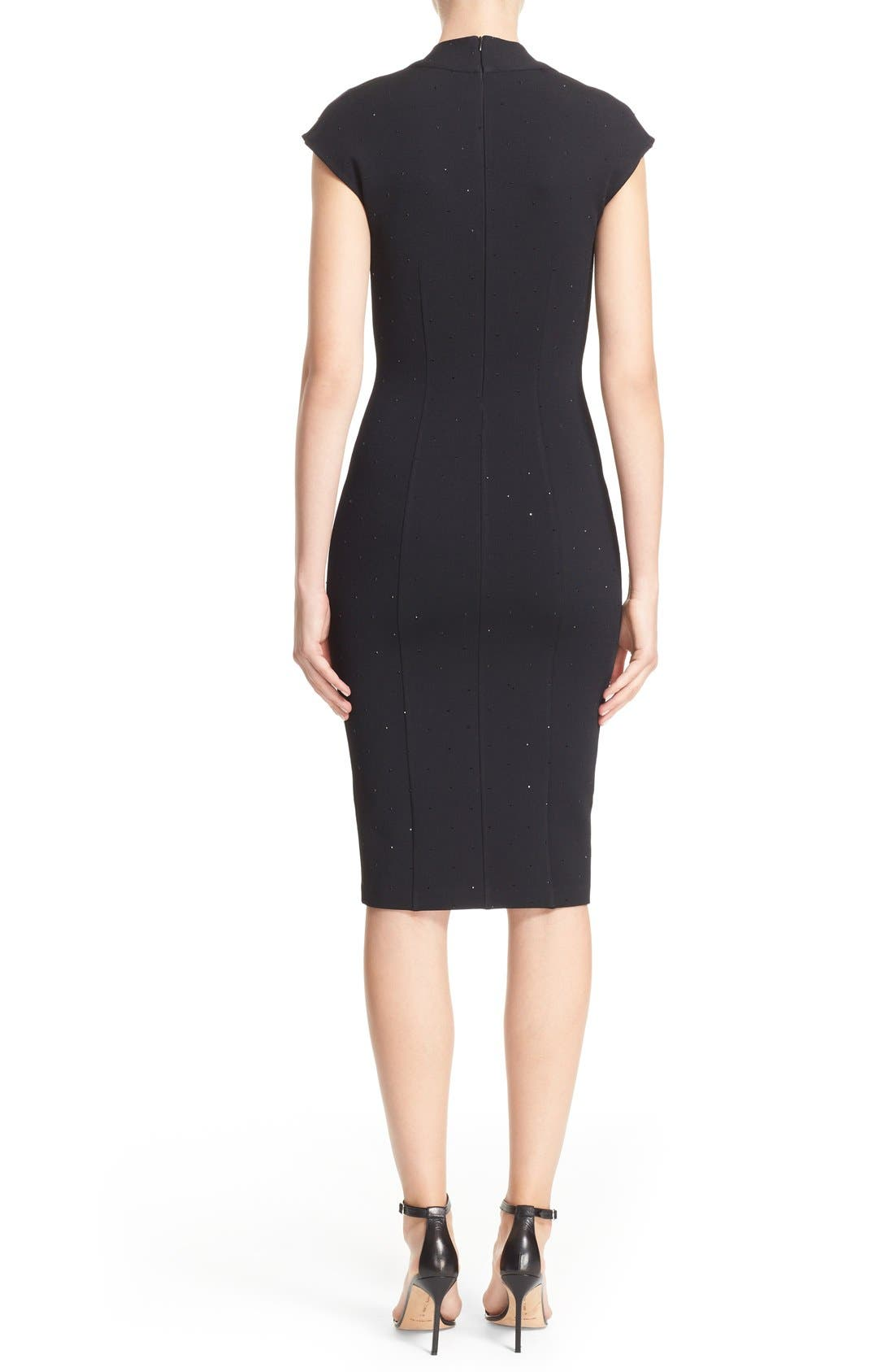 Embellished Luxe Sculpture Knit Dress,                             Alternate thumbnail 4, color,                             001