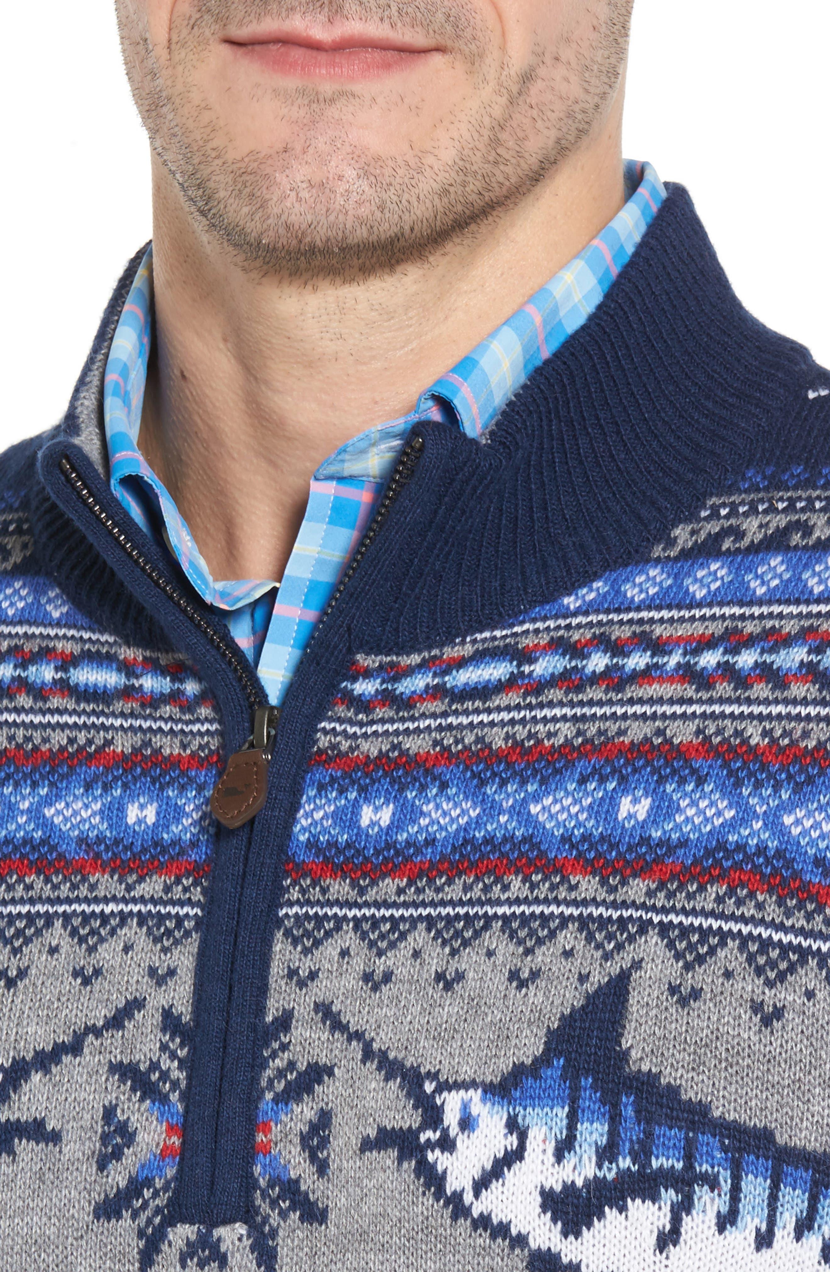 Marlin Fair Isle Quarter Zip Sweater,                             Alternate thumbnail 4, color,                             400