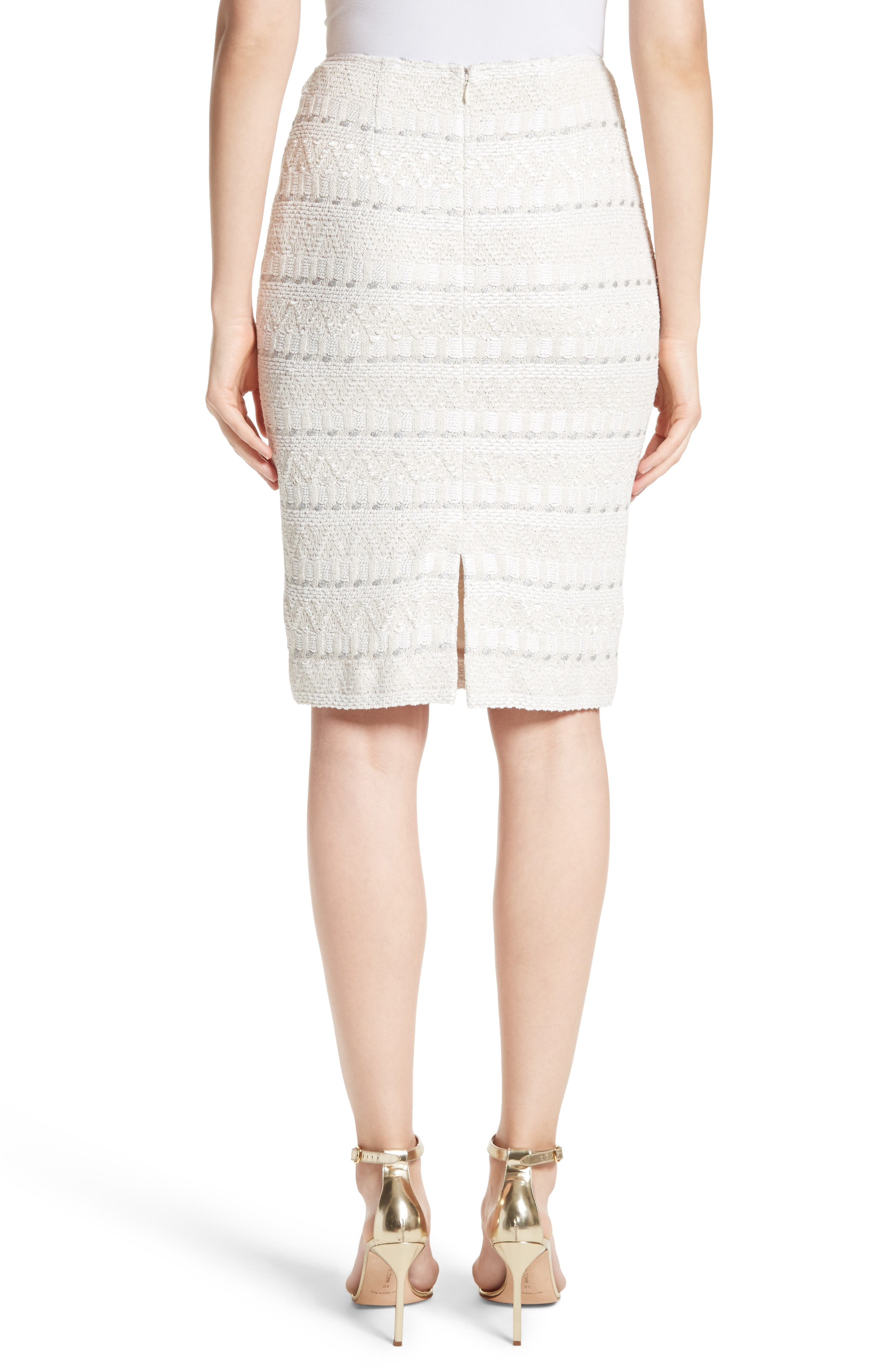 Samar Knit Tweed Pencil Skirt,                             Alternate thumbnail 2, color,                             100