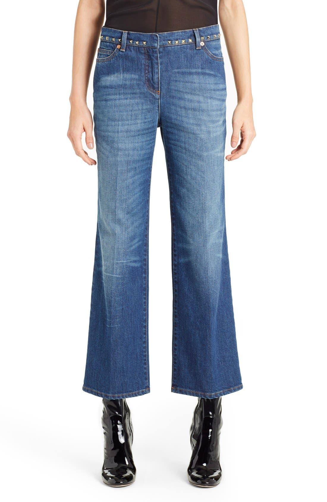 Studded Wide Leg Jeans,                             Main thumbnail 1, color,                             MEDIUM BLUE