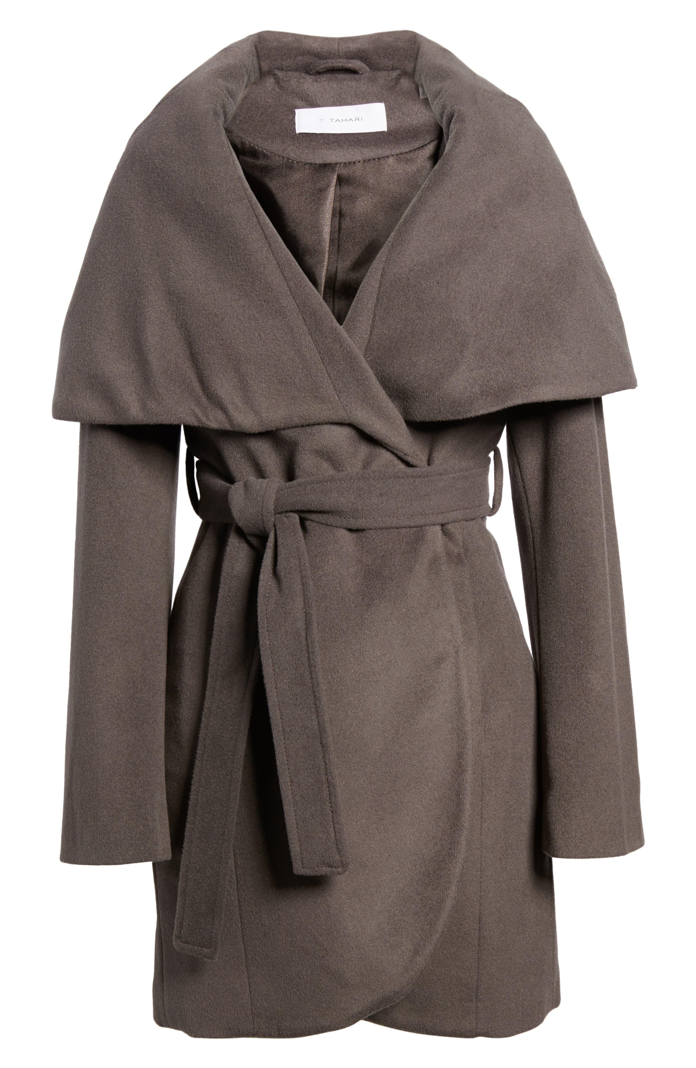 T Tahari Wool Blend Belted Wrap Coat,                             Alternate thumbnail 40, color,