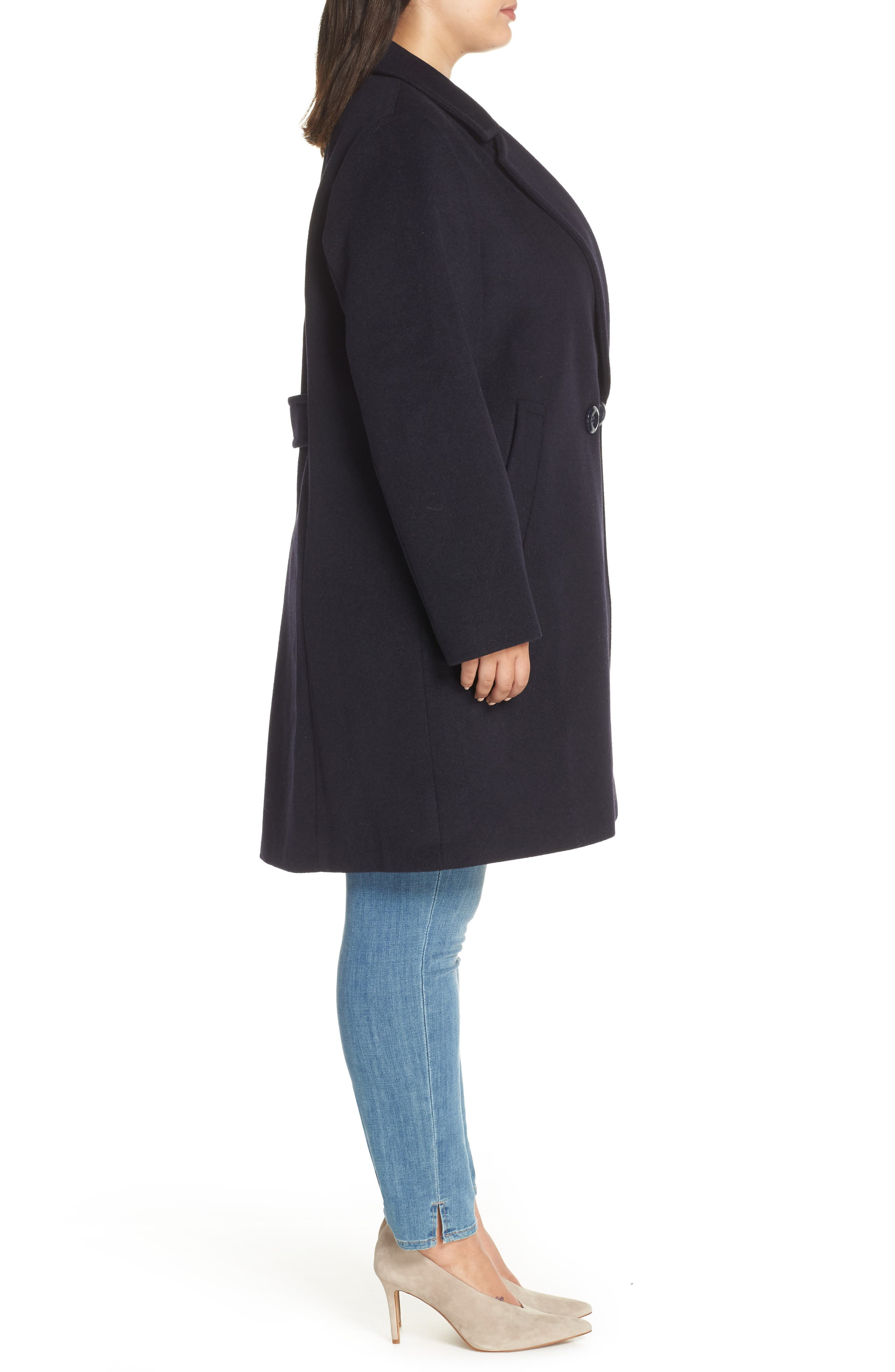 Wool Blend Notch Collar Coat,                             Alternate thumbnail 3, color,                             NAVY